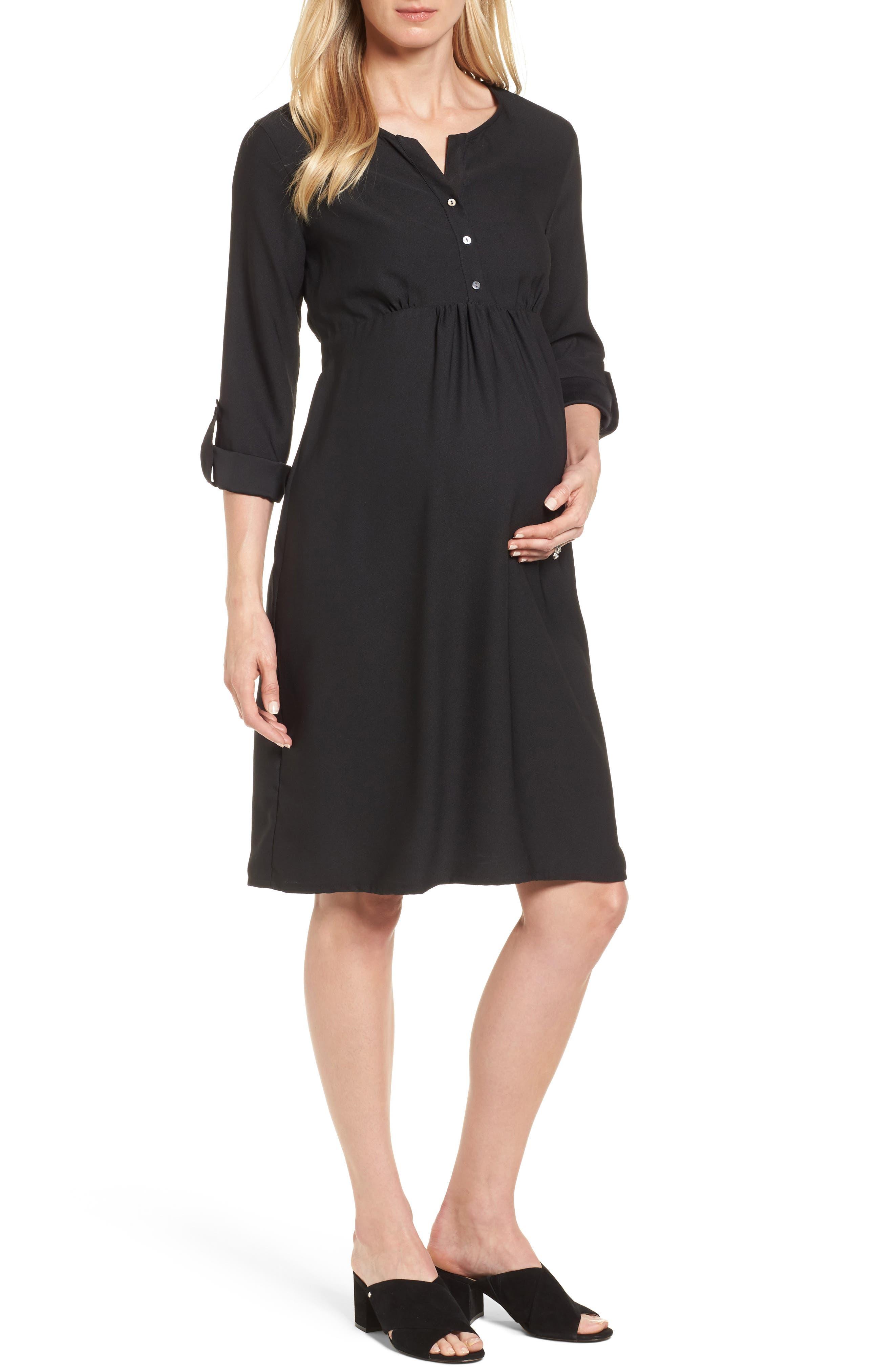 Catriona Maternity Shift Dress,                         Main,                         color, Caviar Black