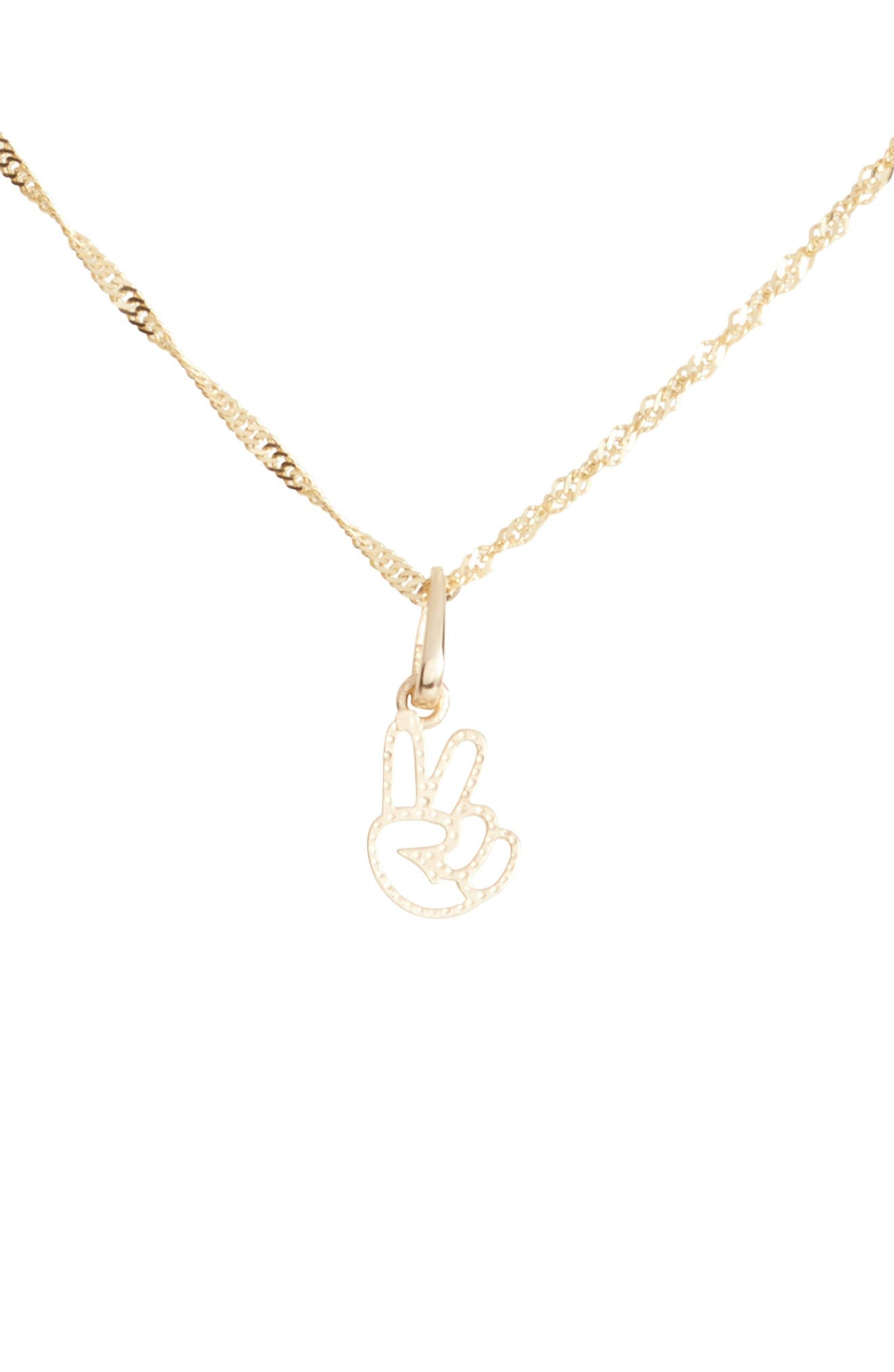 Peace Sign Charm Short Pendant Necklace,                             Main thumbnail 1, color,                             Yellow Gold