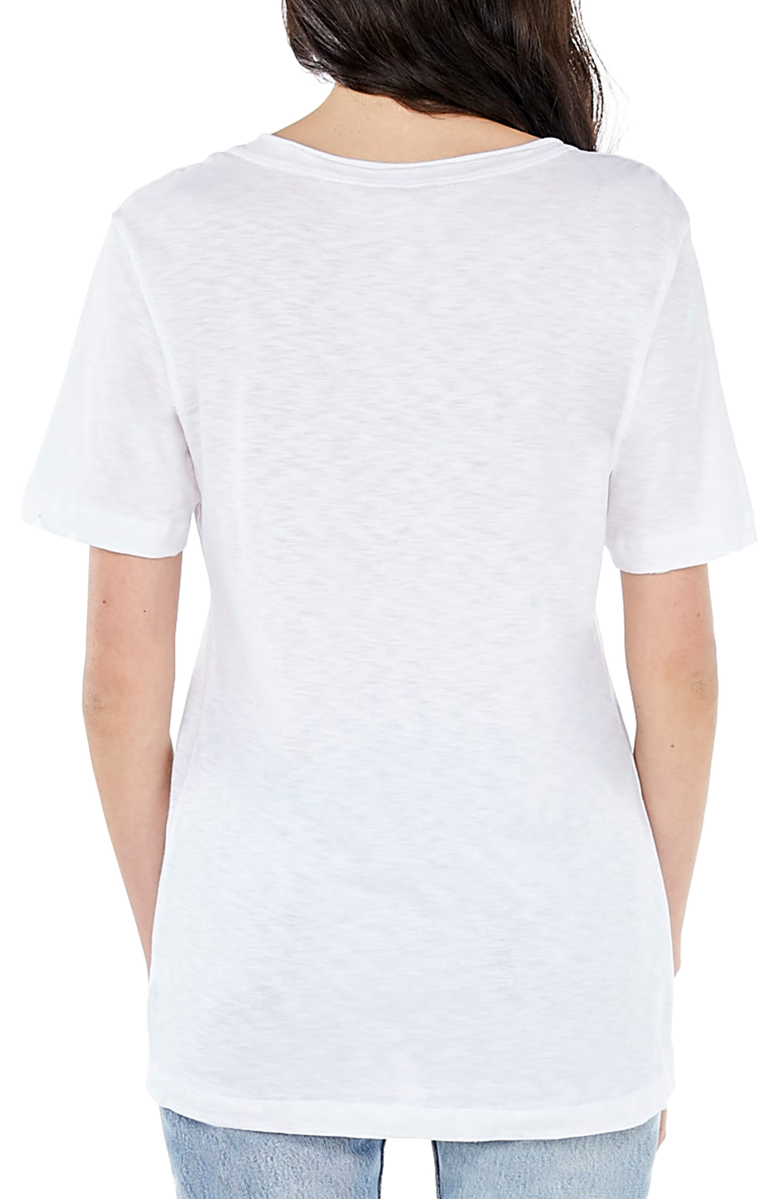 Embroidered U-Neck Tee,                             Alternate thumbnail 2, color,                             White