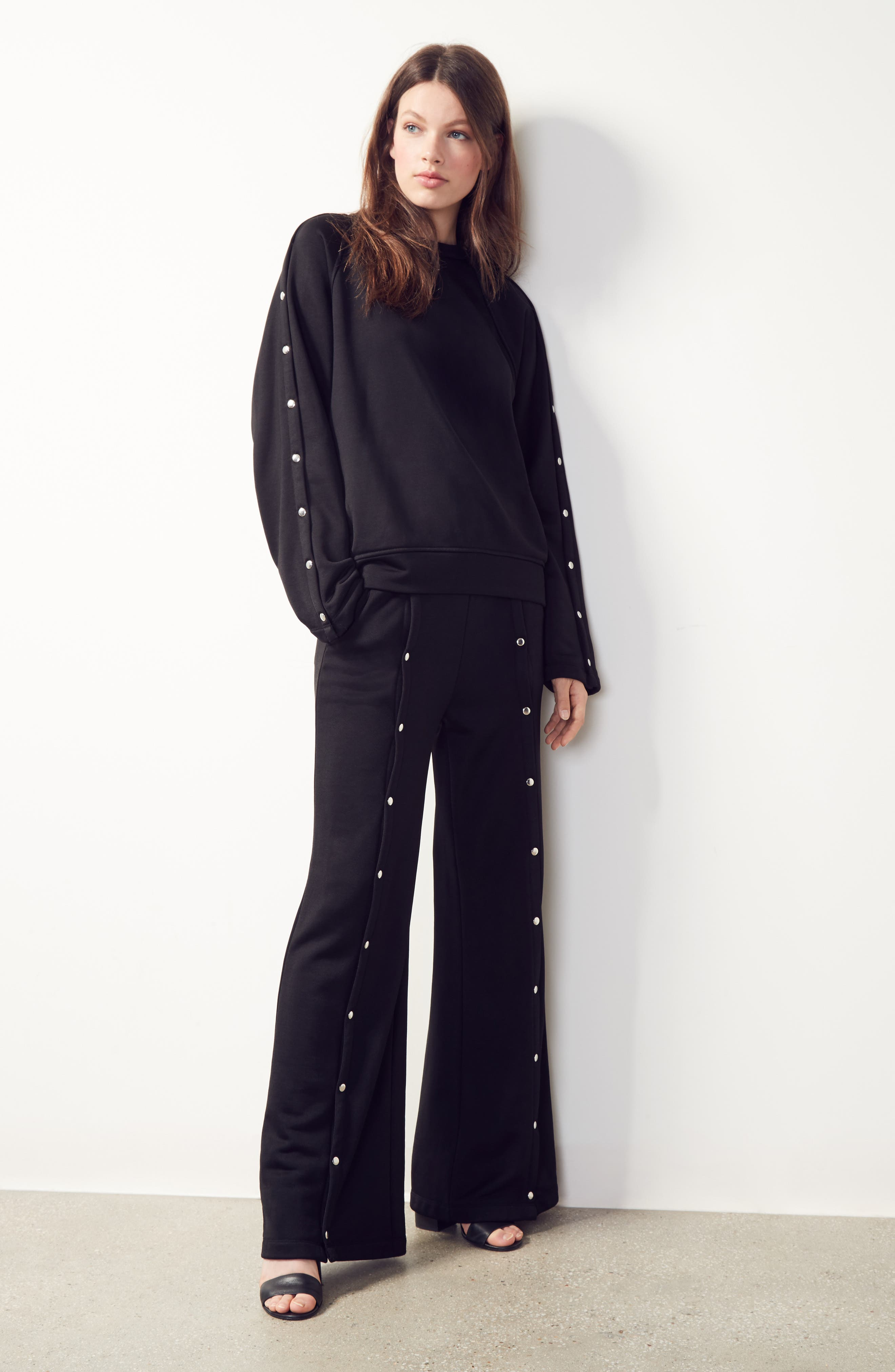 Alternate Image 2  - T by Alexander Wang French Terry Wide Leg Pants
