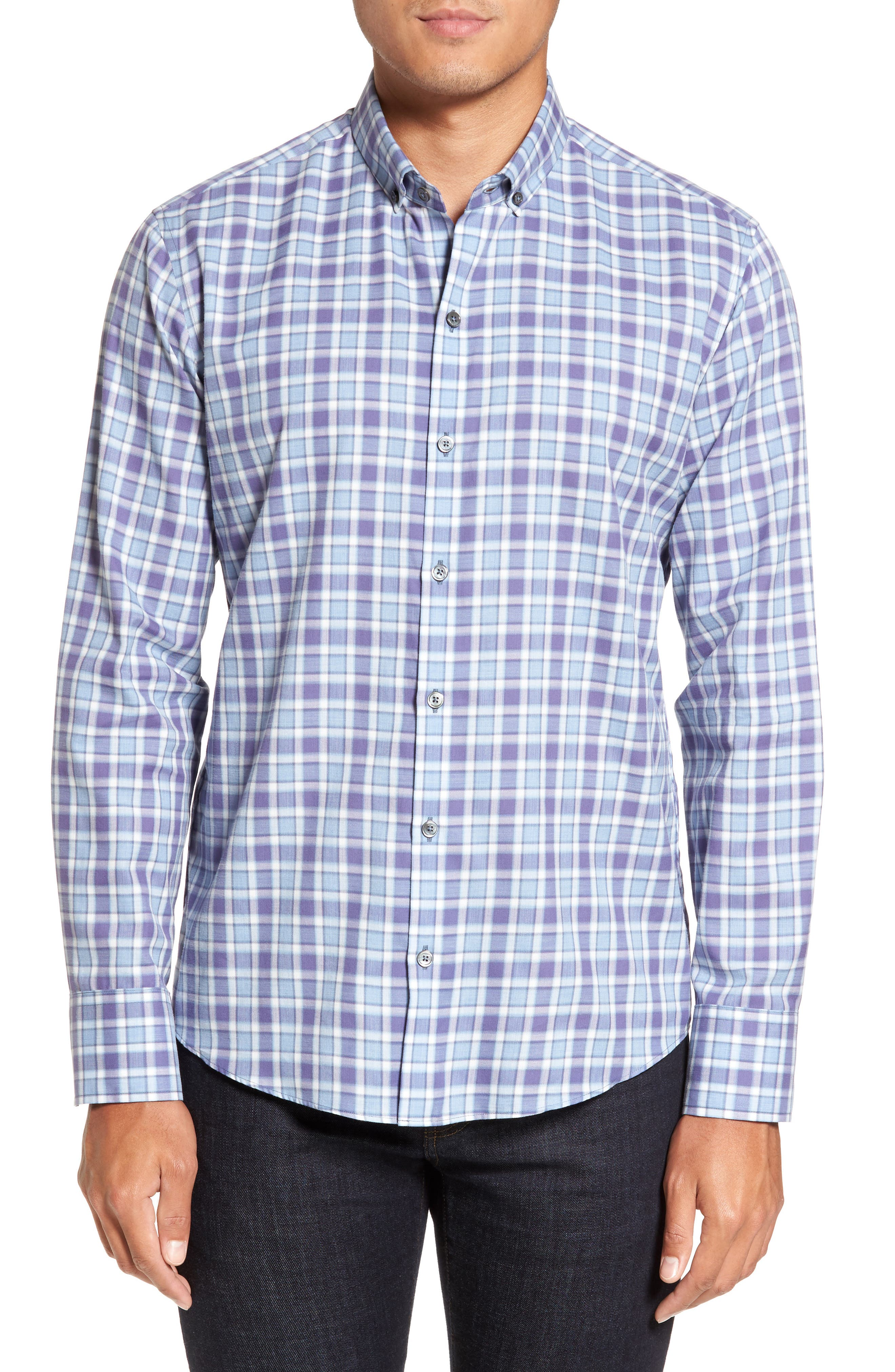 Lobban Slim Fit Check Sport Shirt,                             Main thumbnail 1, color,                             Purple