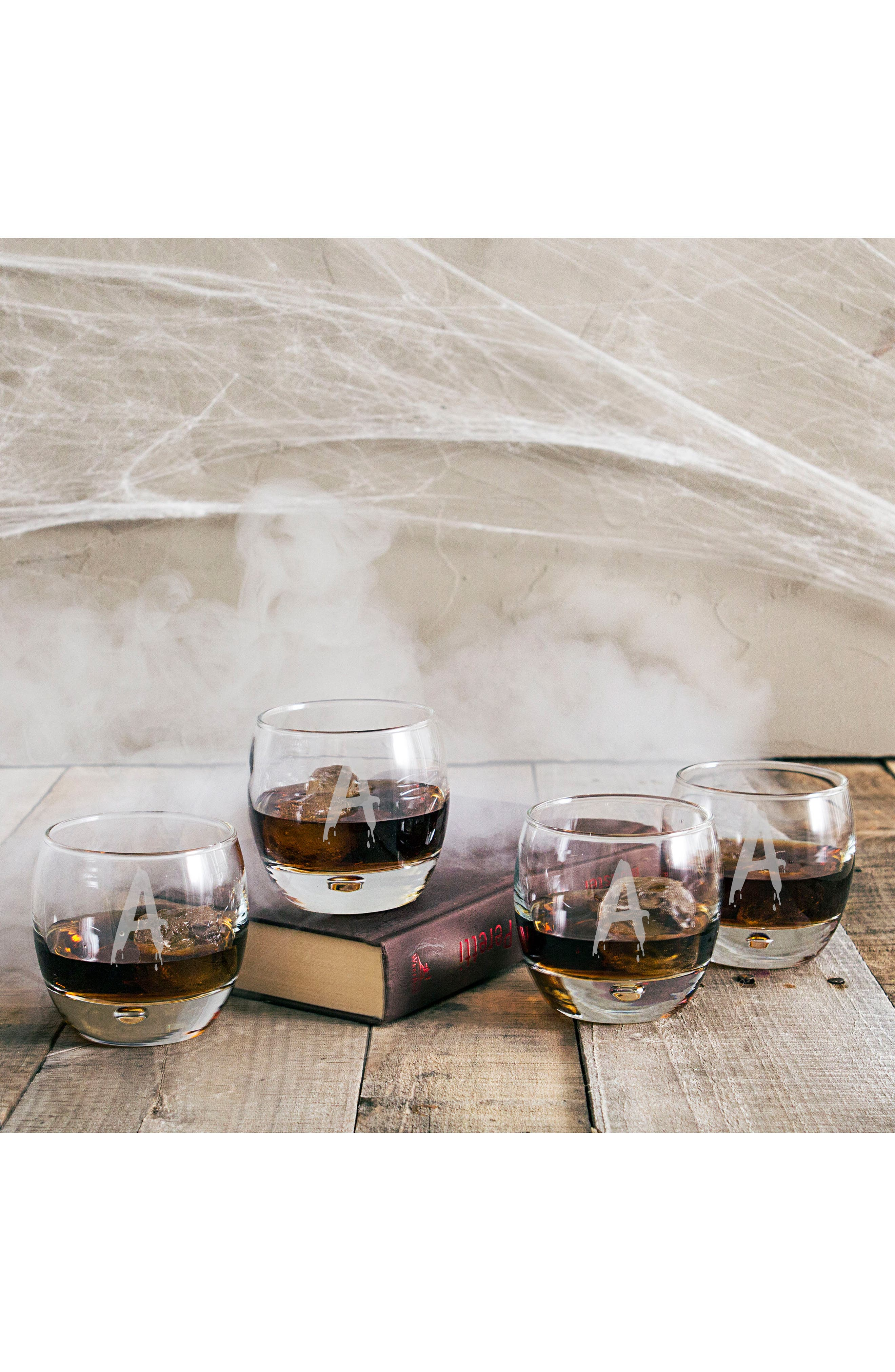 Alternate Image 3  - Cathy's Concepts Set of 4 Spooky Monogram Whiskey Glasses