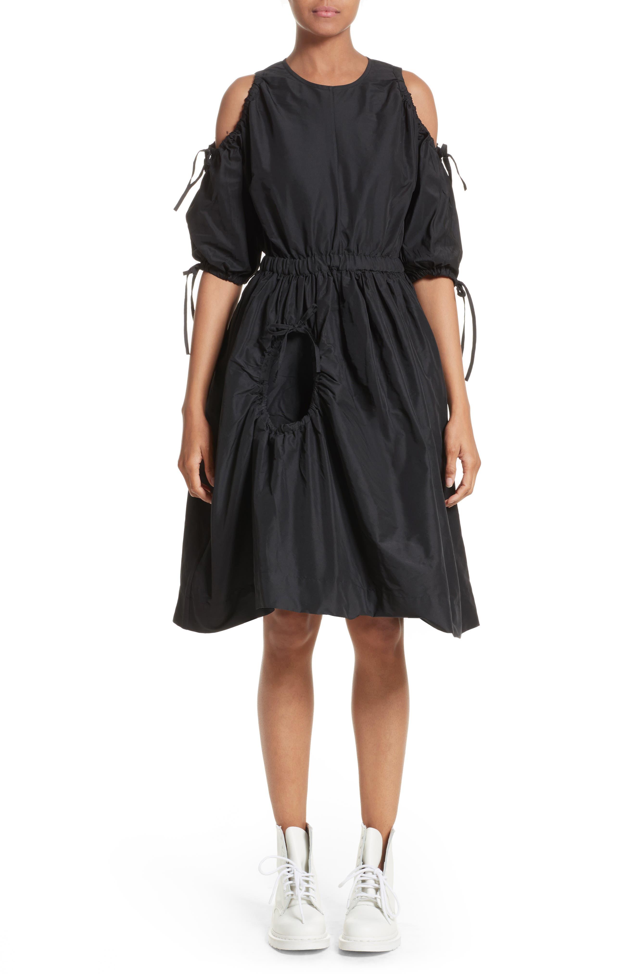 Cold Shoulder Drawstring Dress,                         Main,                         color, Black