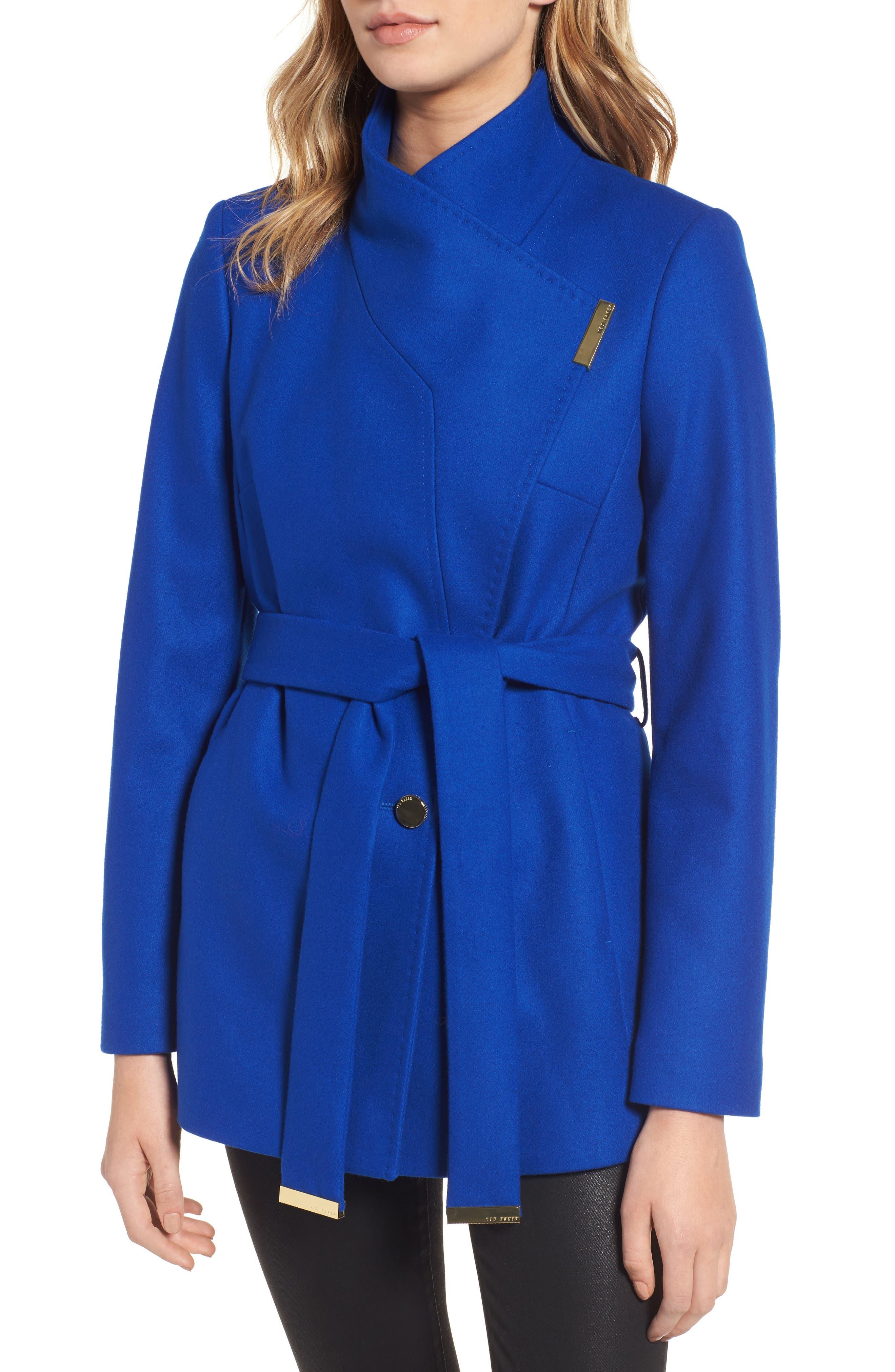 Wool Blend Short Wrap Coat,                             Alternate thumbnail 4, color,                             Bright Blue