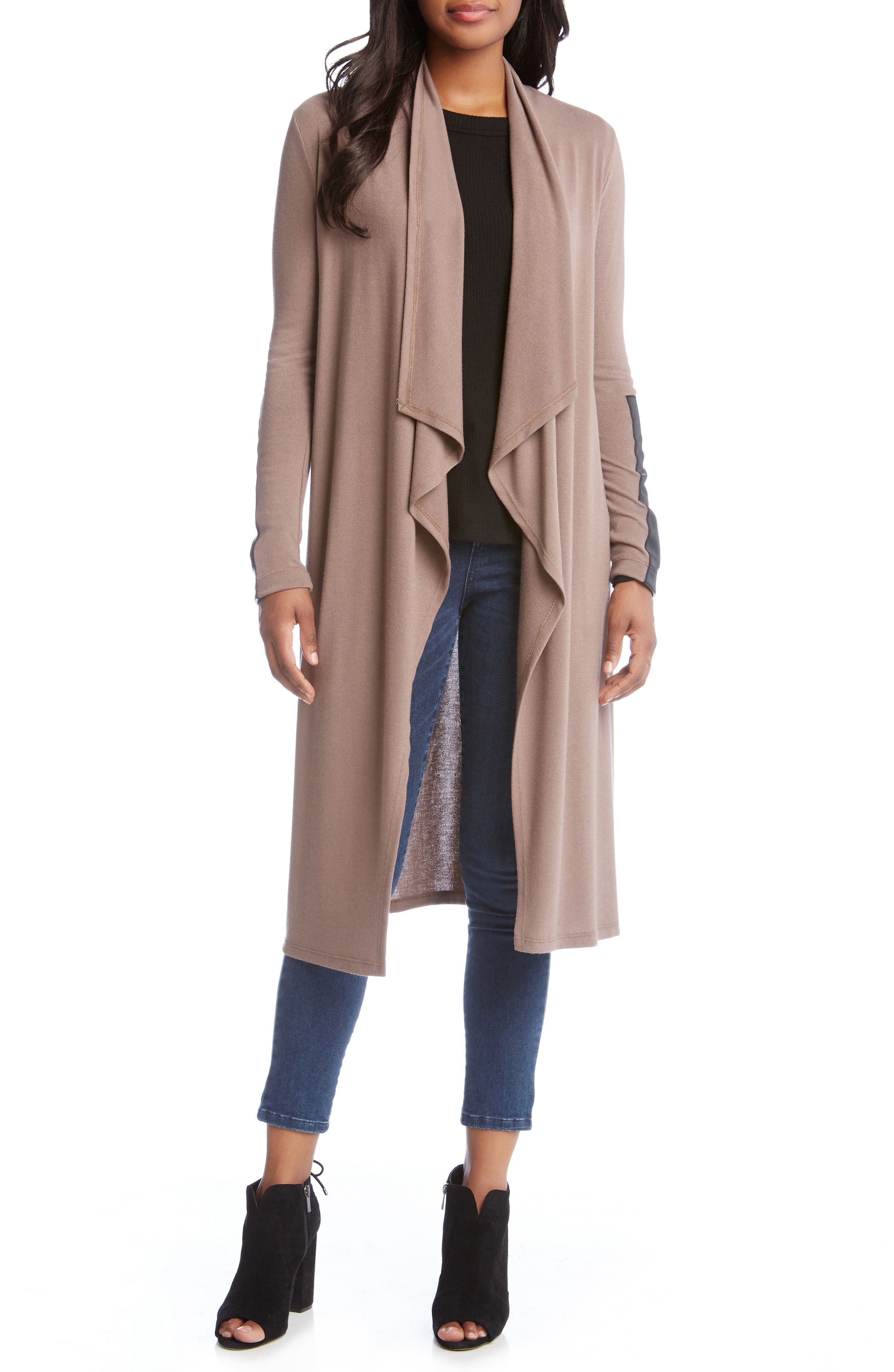 Faux Leather Patch Duster Cardigan,                         Main,                         color, Mushroom