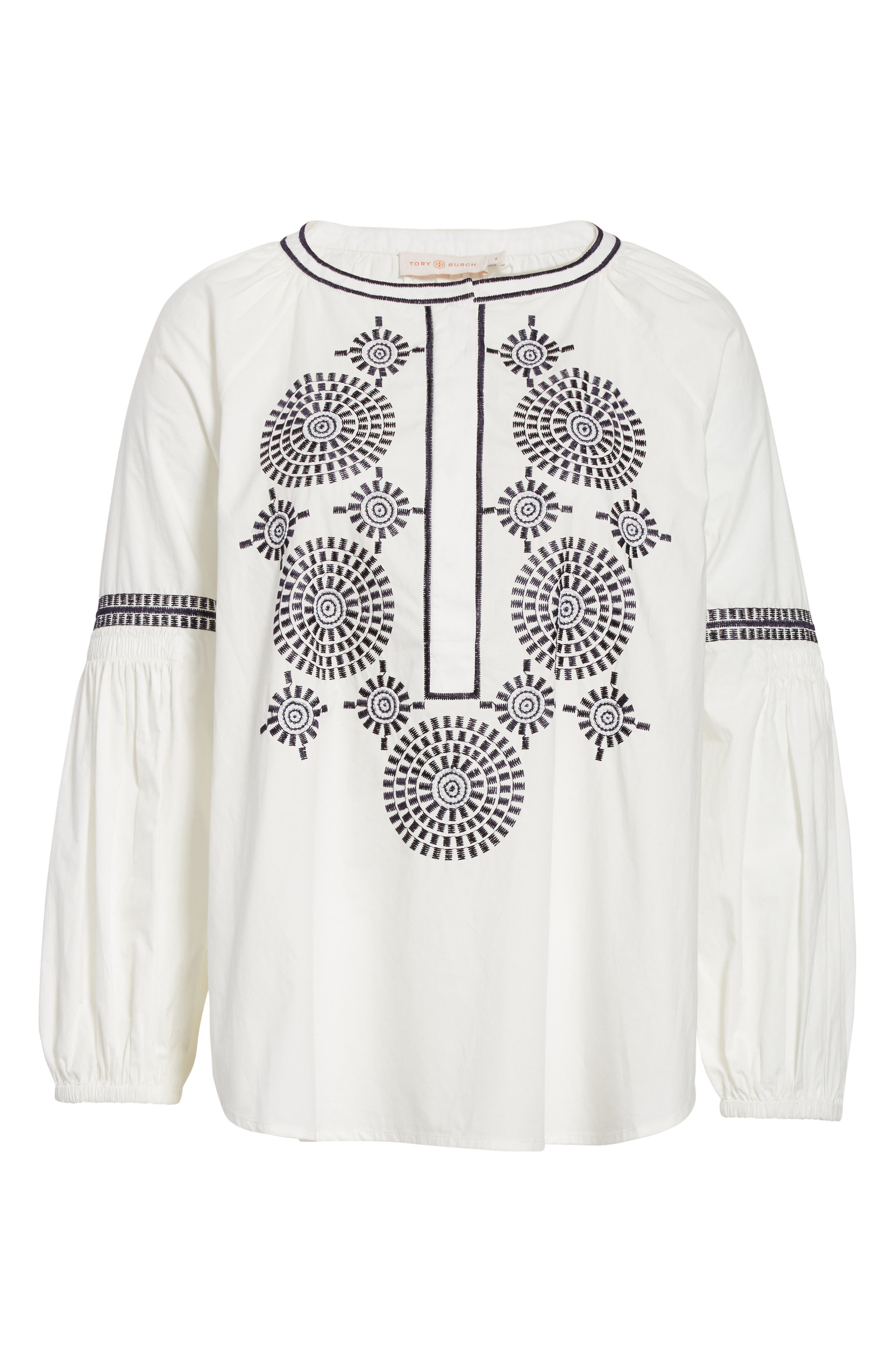 Alternate Image 6  - Tory Burch Aubrey Embroidered Peasant Top