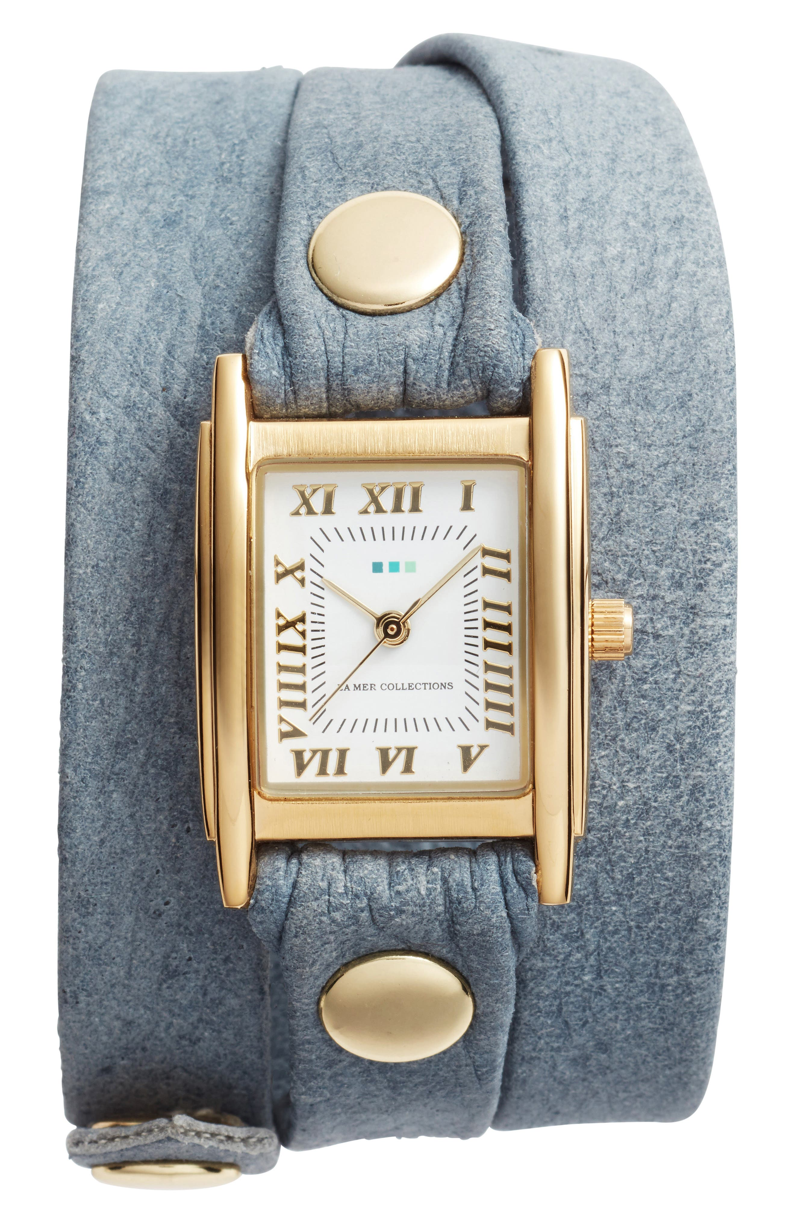 La Mer Collections Leather Wrap Strap Watch, 22mm
