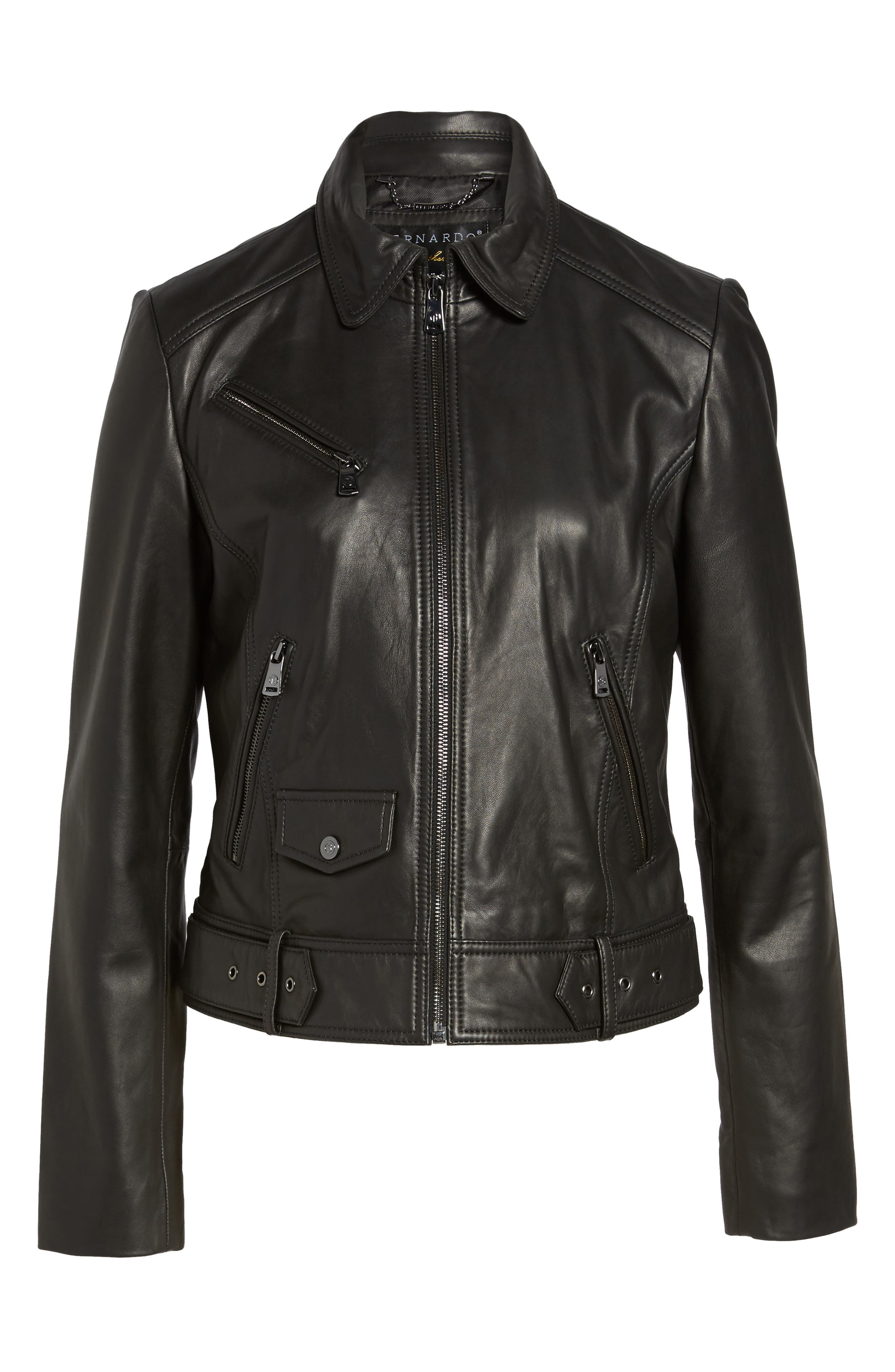 Front Zip Leather Moto Jacket,                             Alternate thumbnail 7, color,                             Black