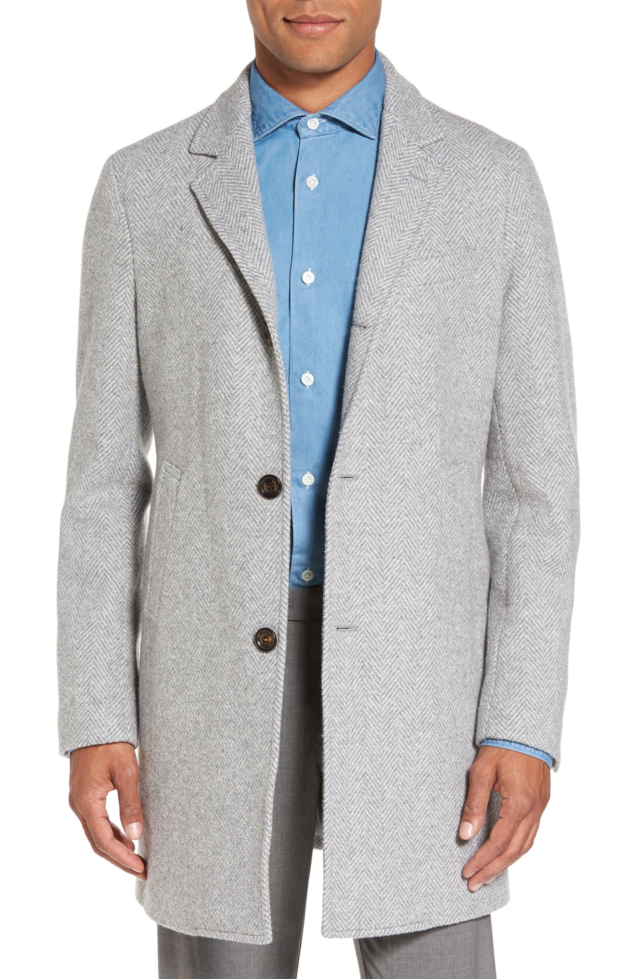 Herringbone Wool Blend Overcoat,                         Main,                         color, Light Grey