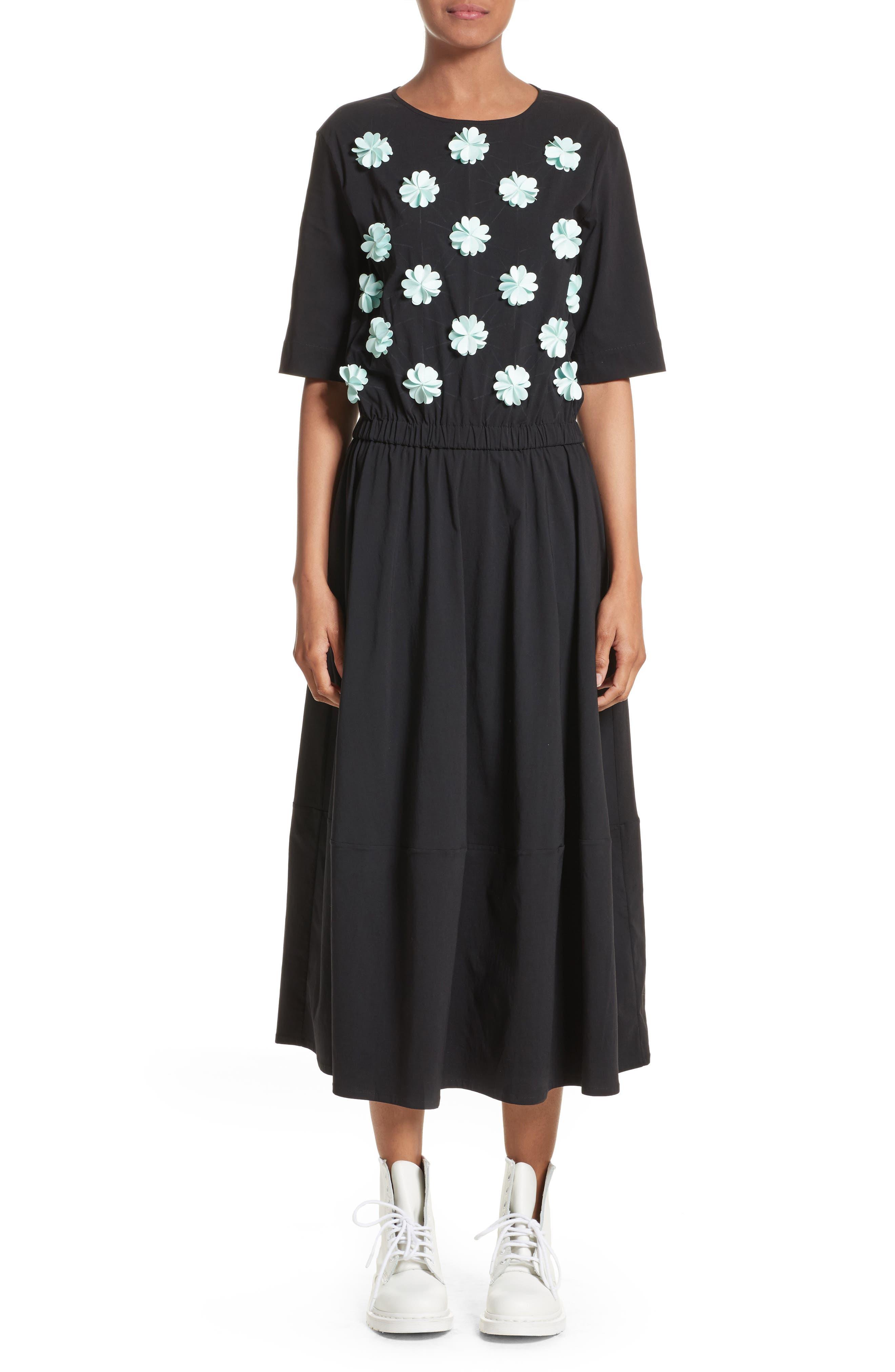 Floral Appliqué Dress,                         Main,                         color, Black/ Mint