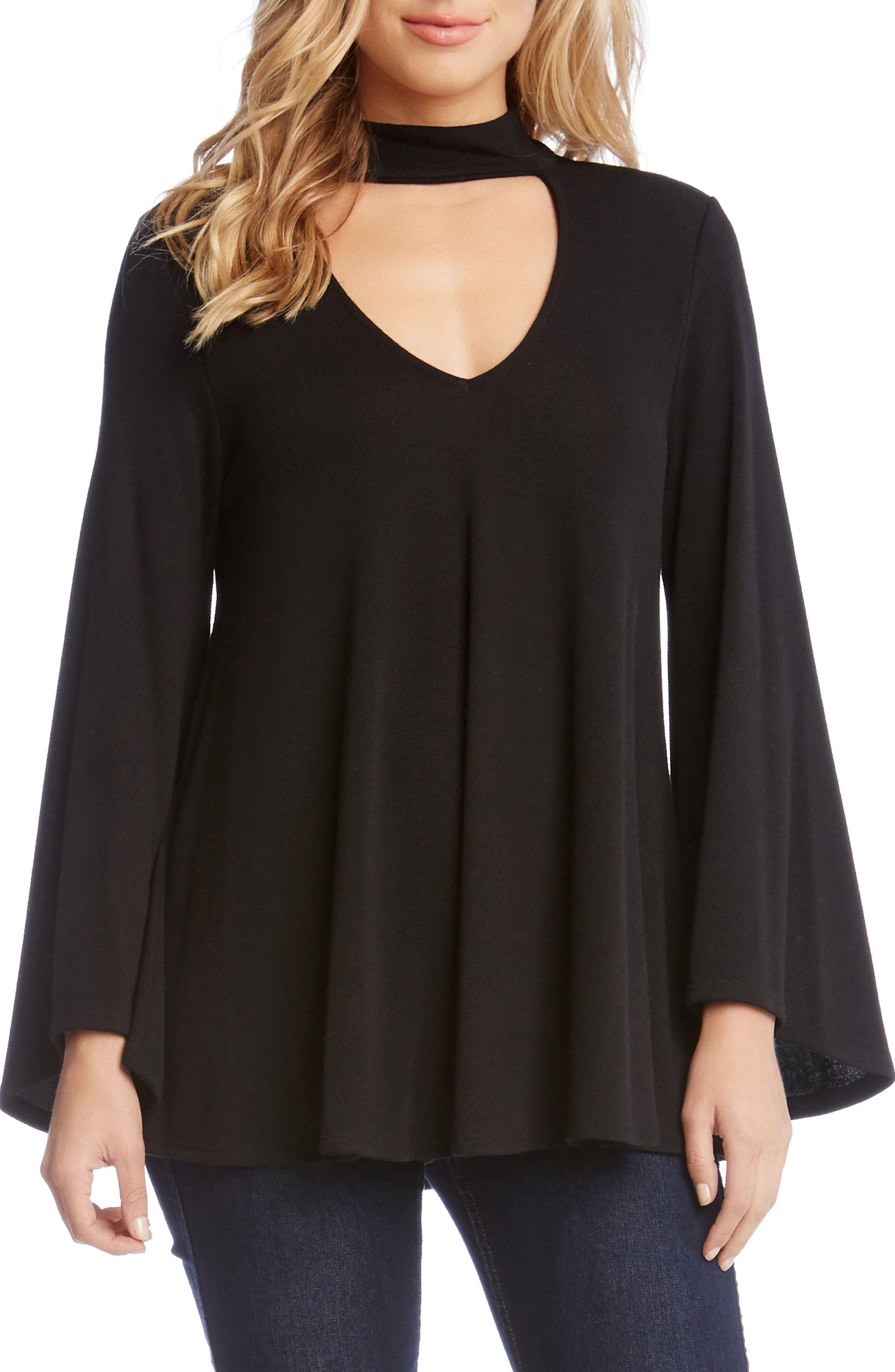 Cutout V-Neck Bell Sleeve Top,                         Main,                         color, Black