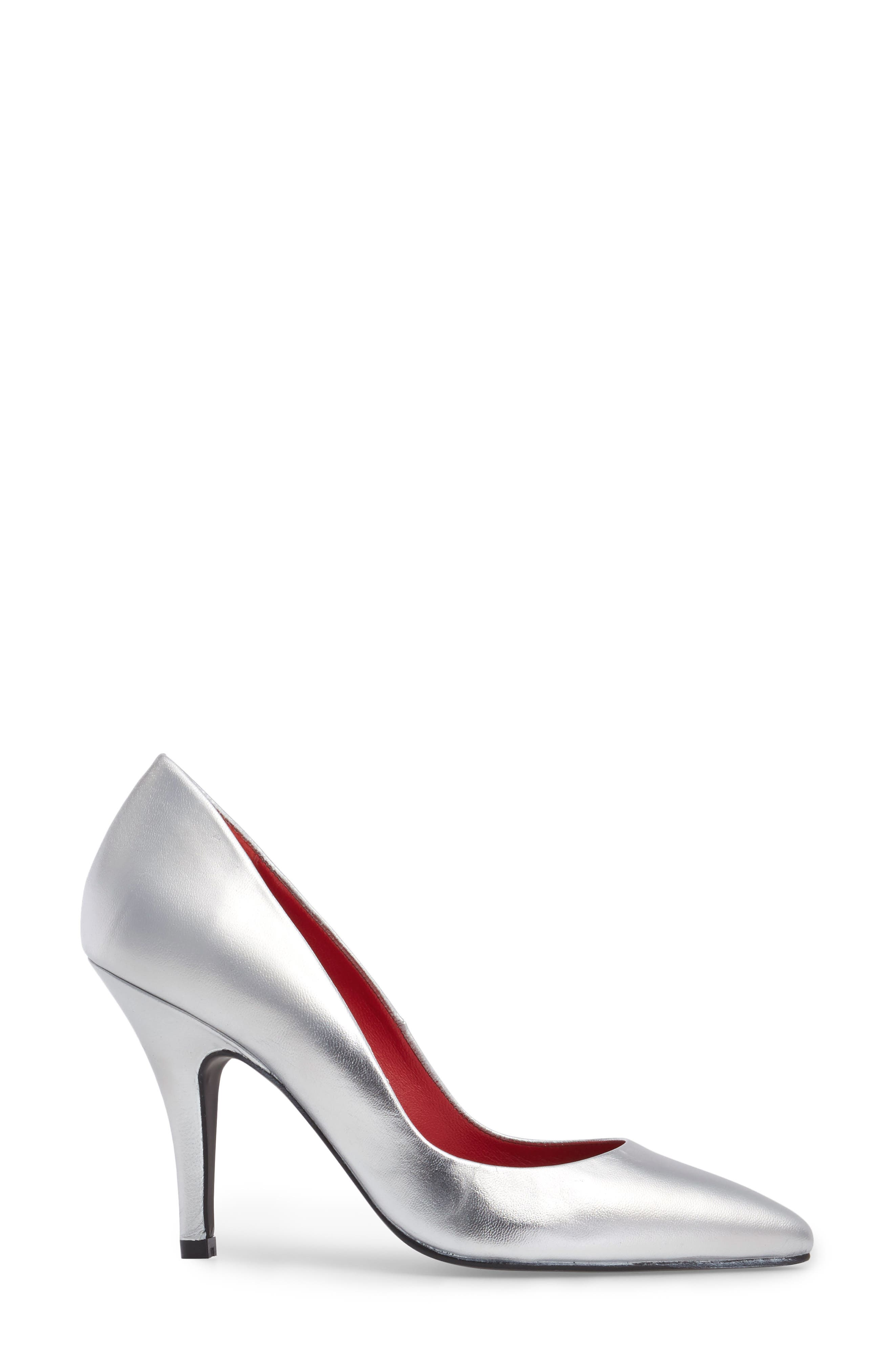 Sachi Pointy Toe Pump,                             Alternate thumbnail 3, color,                             Silver