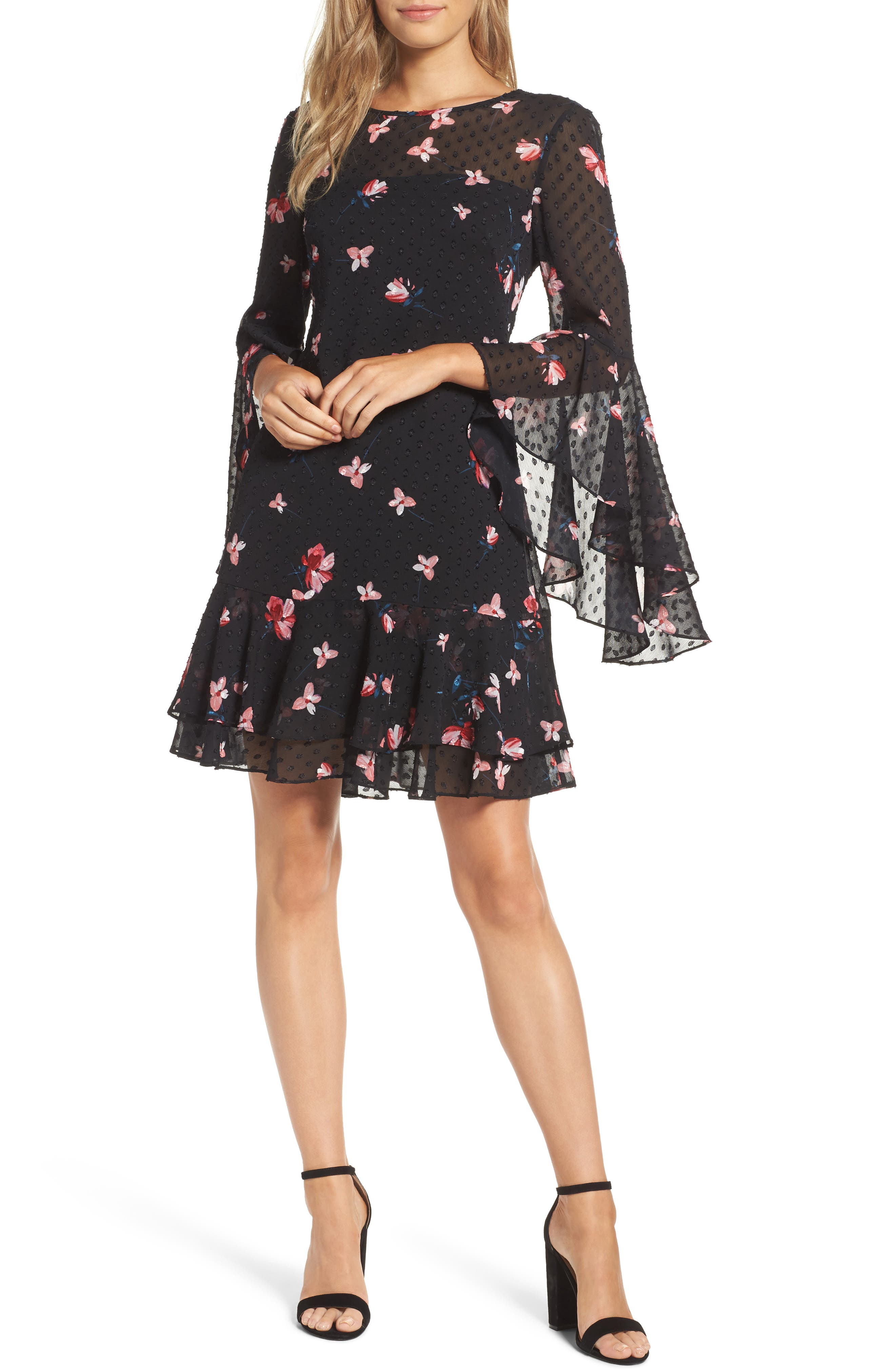 Main Image - Eliza J Ruffled Fit & Flare Dress