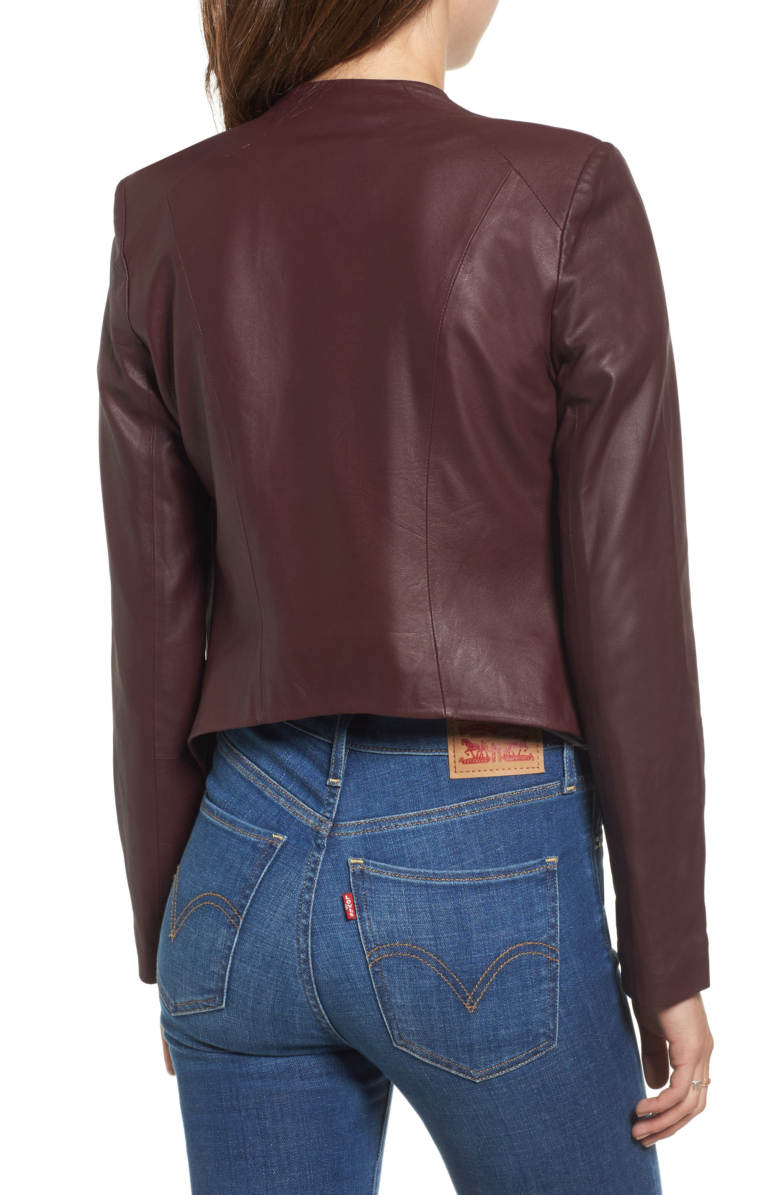 Brycen Leather Drape Front Jacket,                             Alternate thumbnail 2, color,                             Fig