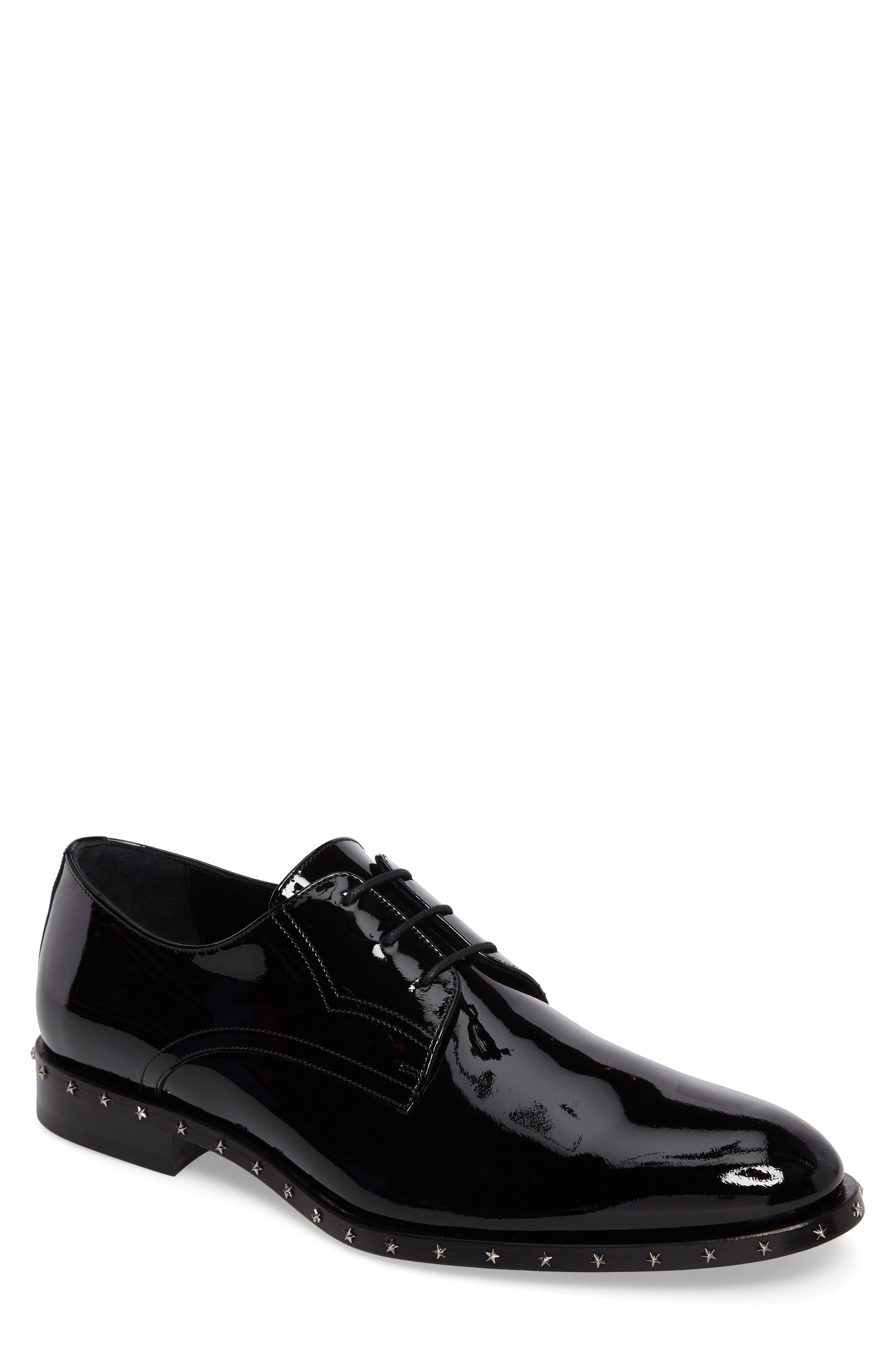 Studded Plain Toe Derby,                             Main thumbnail 1, color,                             Black Patent Leather