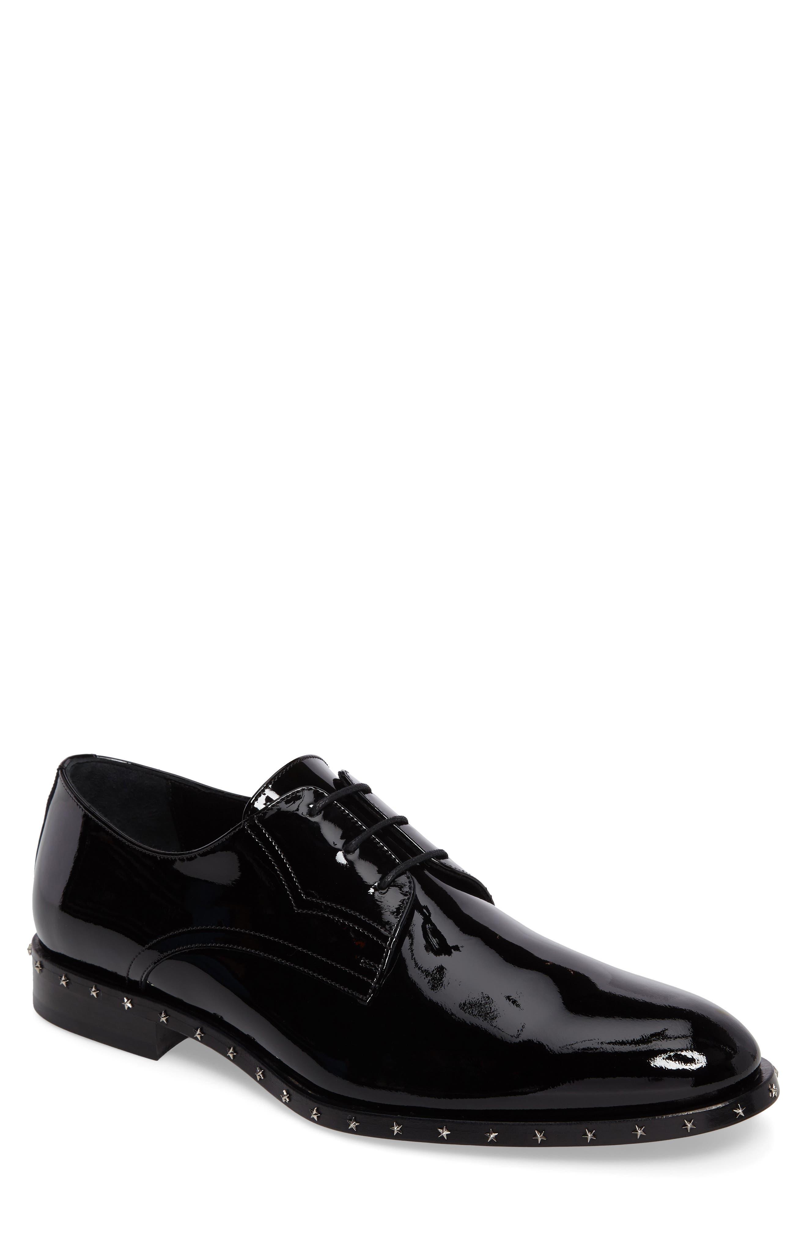 Studded Plain Toe Derby,                         Main,                         color, Black Patent Leather