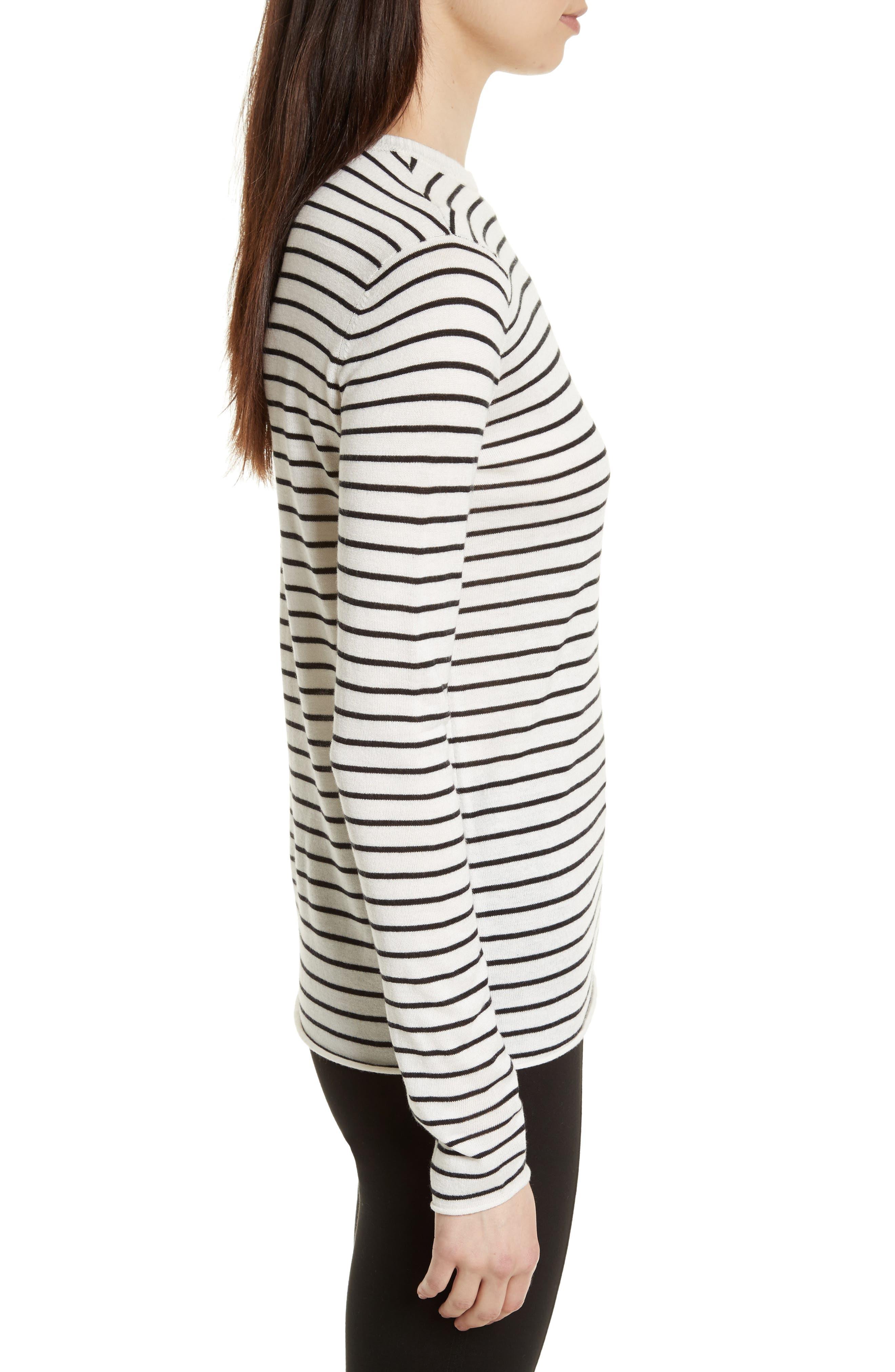 Stripe Silk Blend Sweater,                             Alternate thumbnail 3, color,                             Chalk/ Black