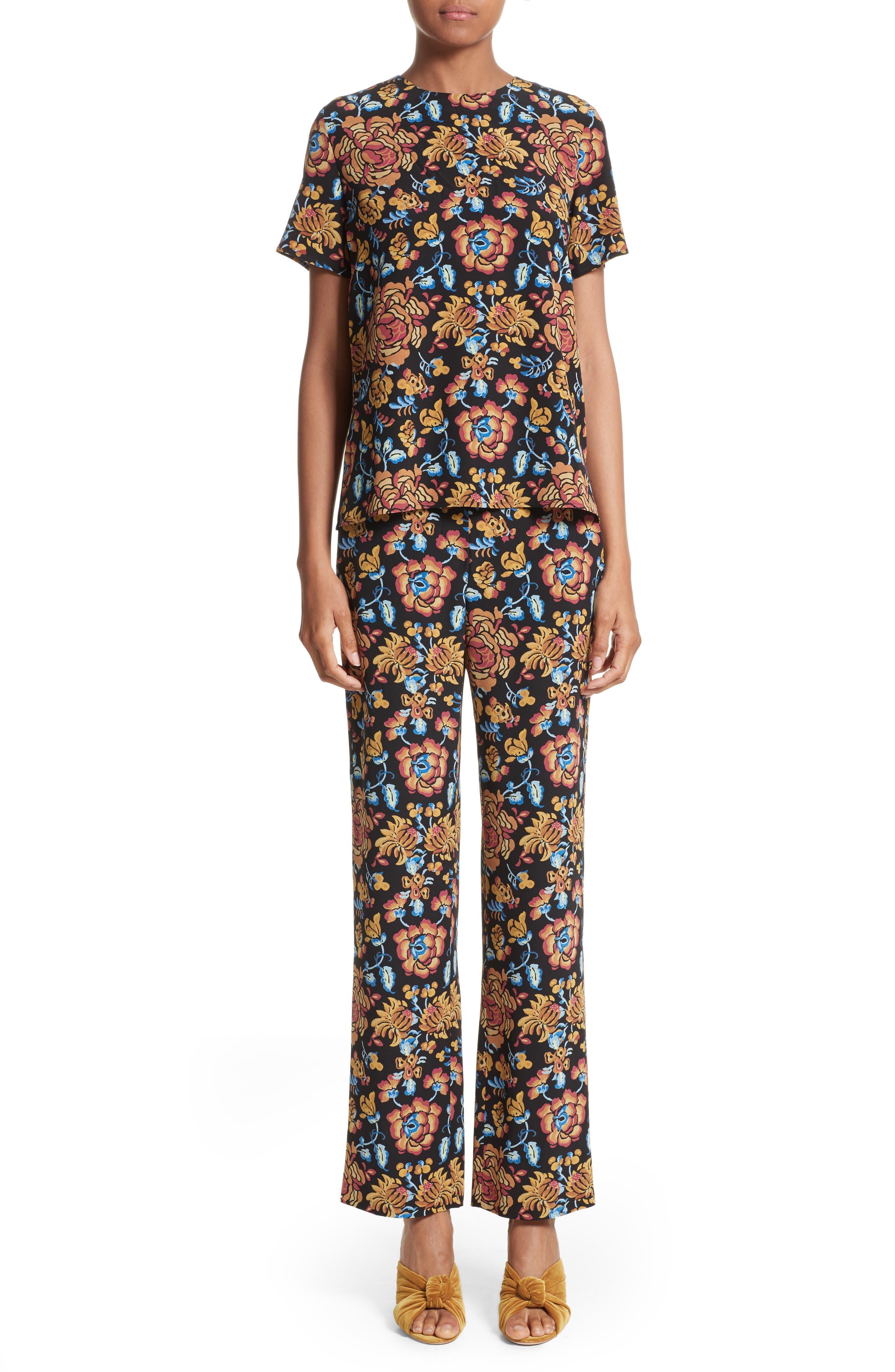 Floral Print Silk Pants,                             Alternate thumbnail 8, color,                             Black Multi