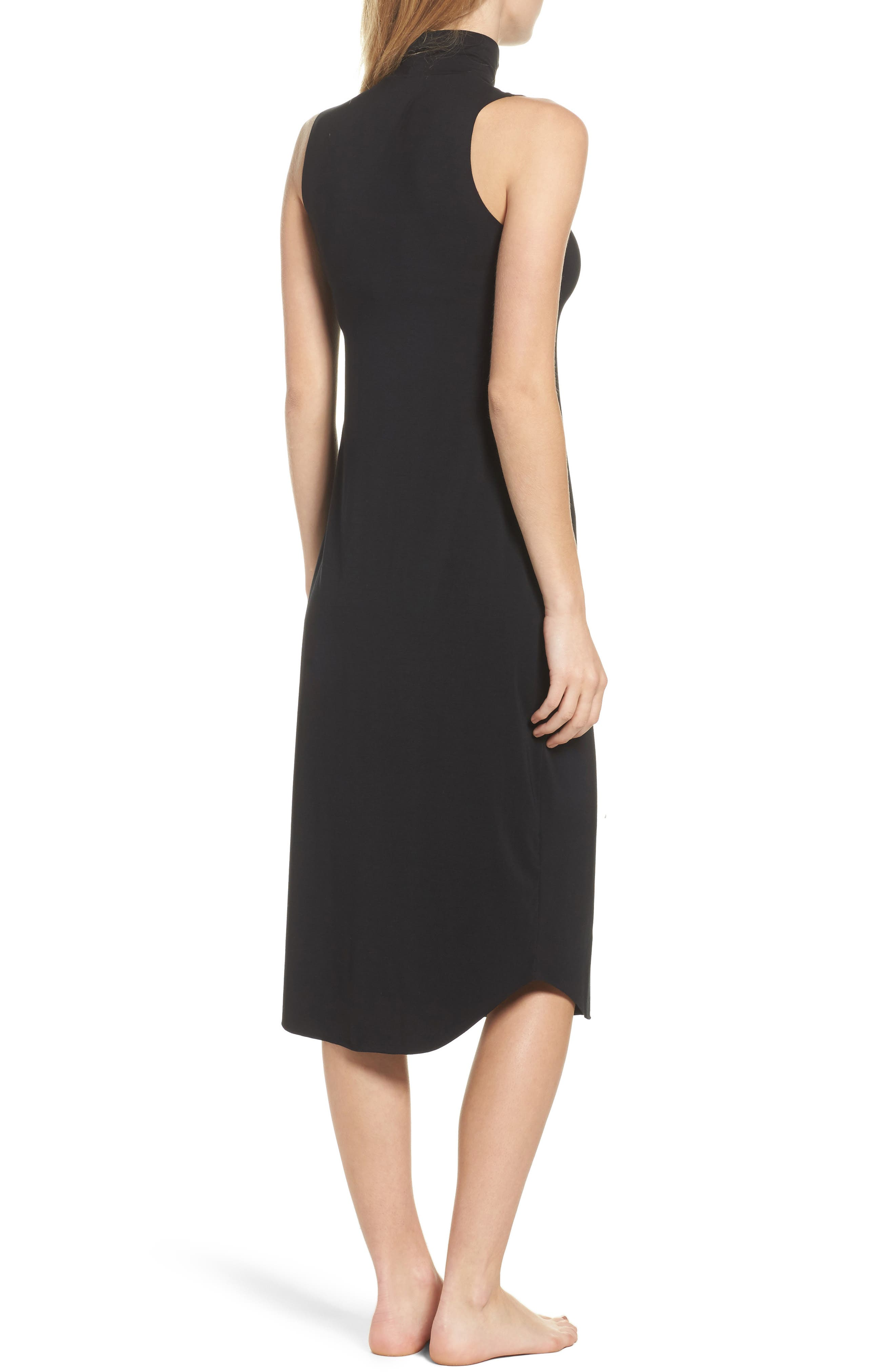 Butter Chic Turtleneck Chemise,                             Alternate thumbnail 2, color,                             Midnight