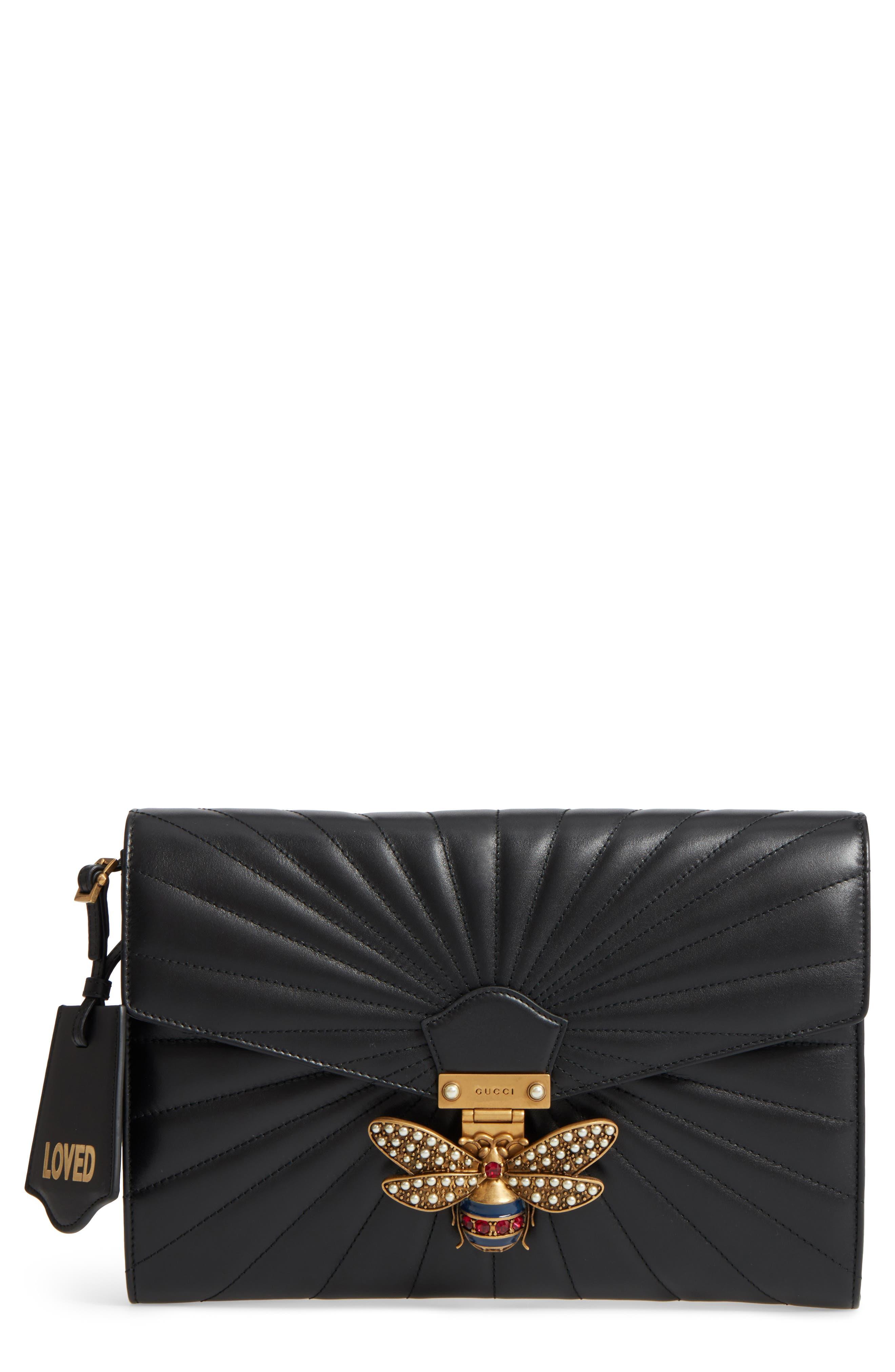 Queen Margaret Matelassé Leather Clutch,                         Main,                         color, Nero