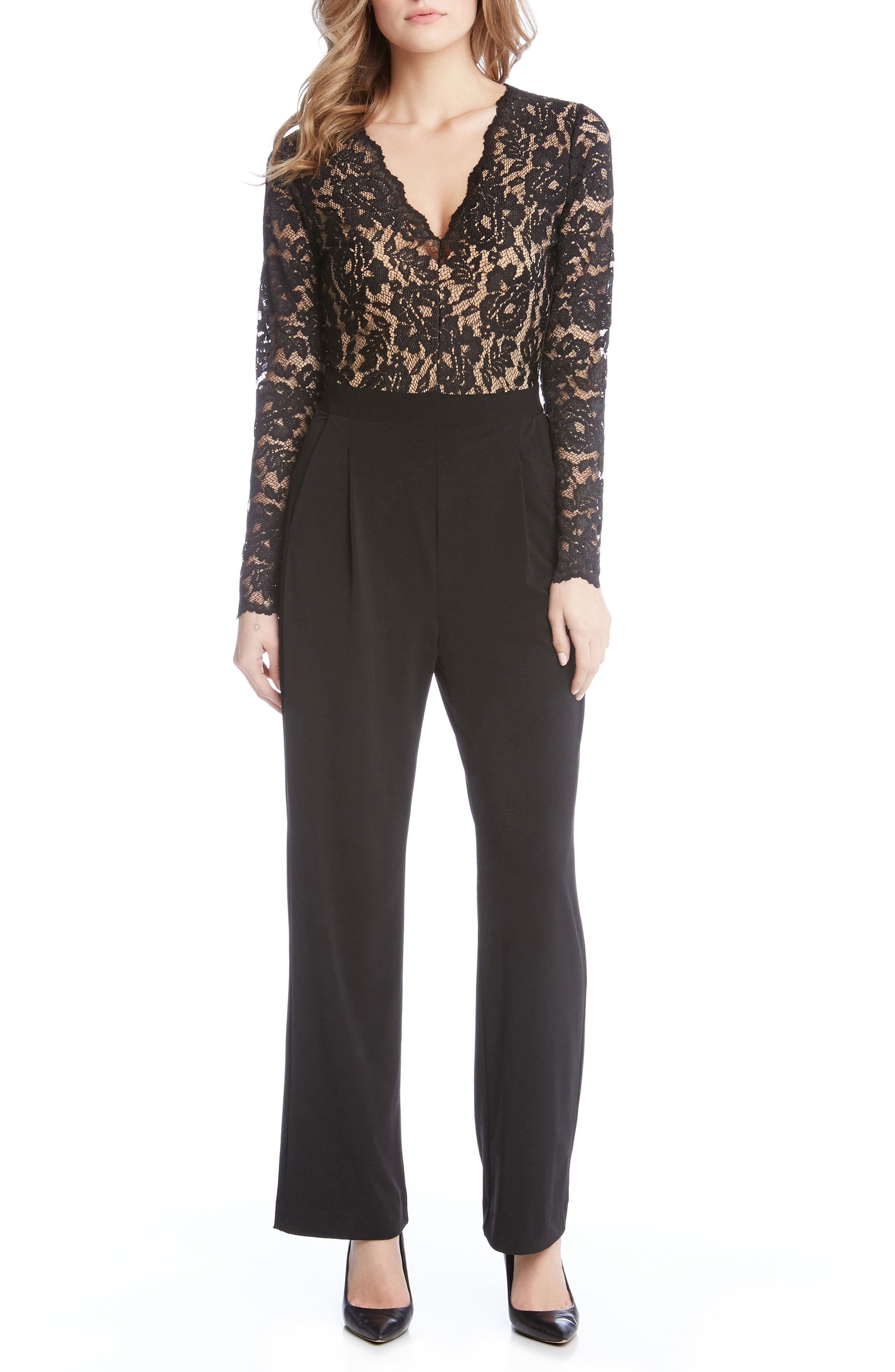 Ava Lace & Knit Jumpsuit,                         Main,                         color, Black