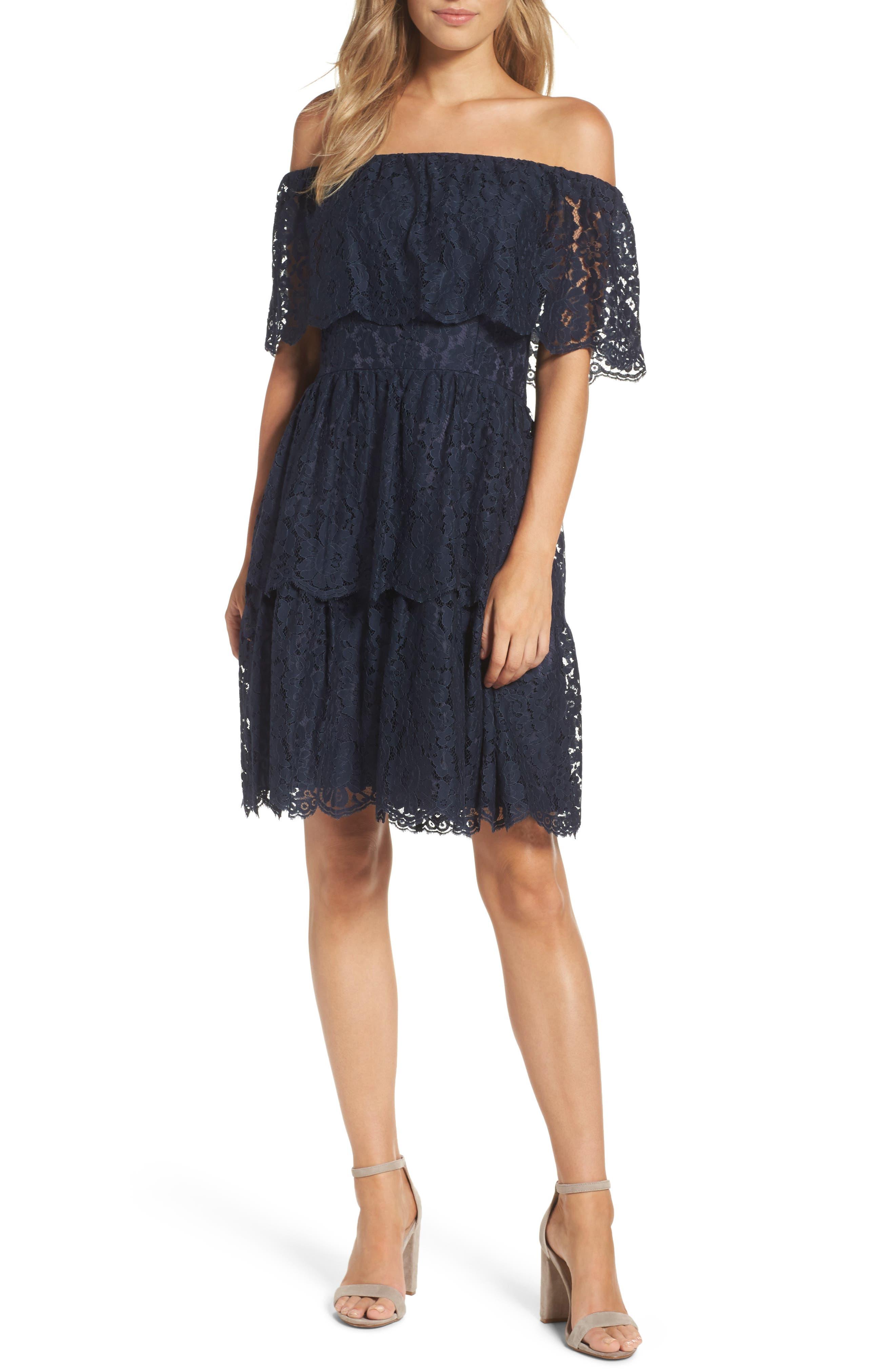 Eliza J Lace Off the Shoulder Dress