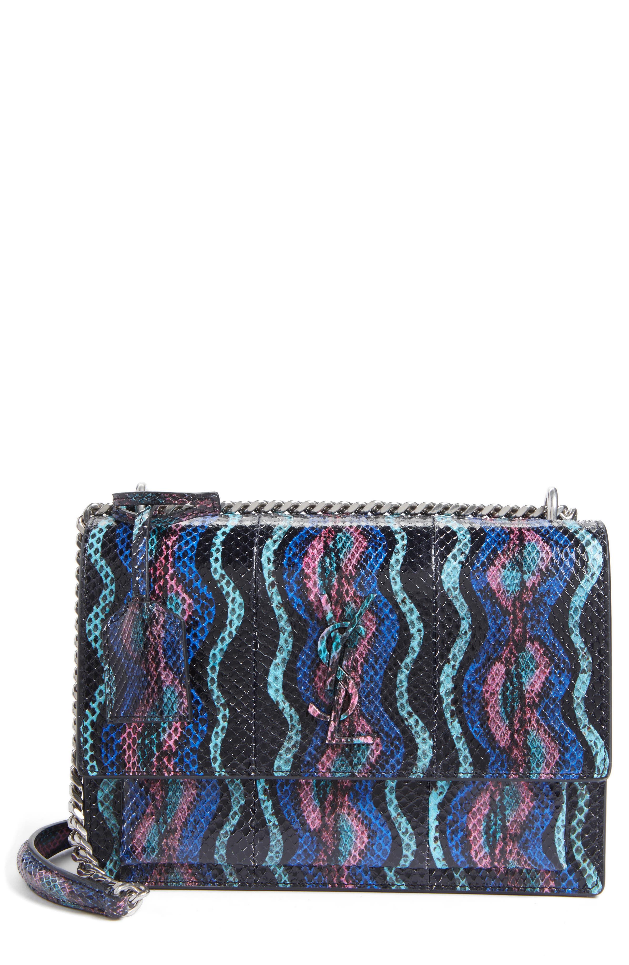 Medium Monogram Sunset Genuine Snakeskin Crossbody Bag,                             Main thumbnail 1, color,                             Black Multi