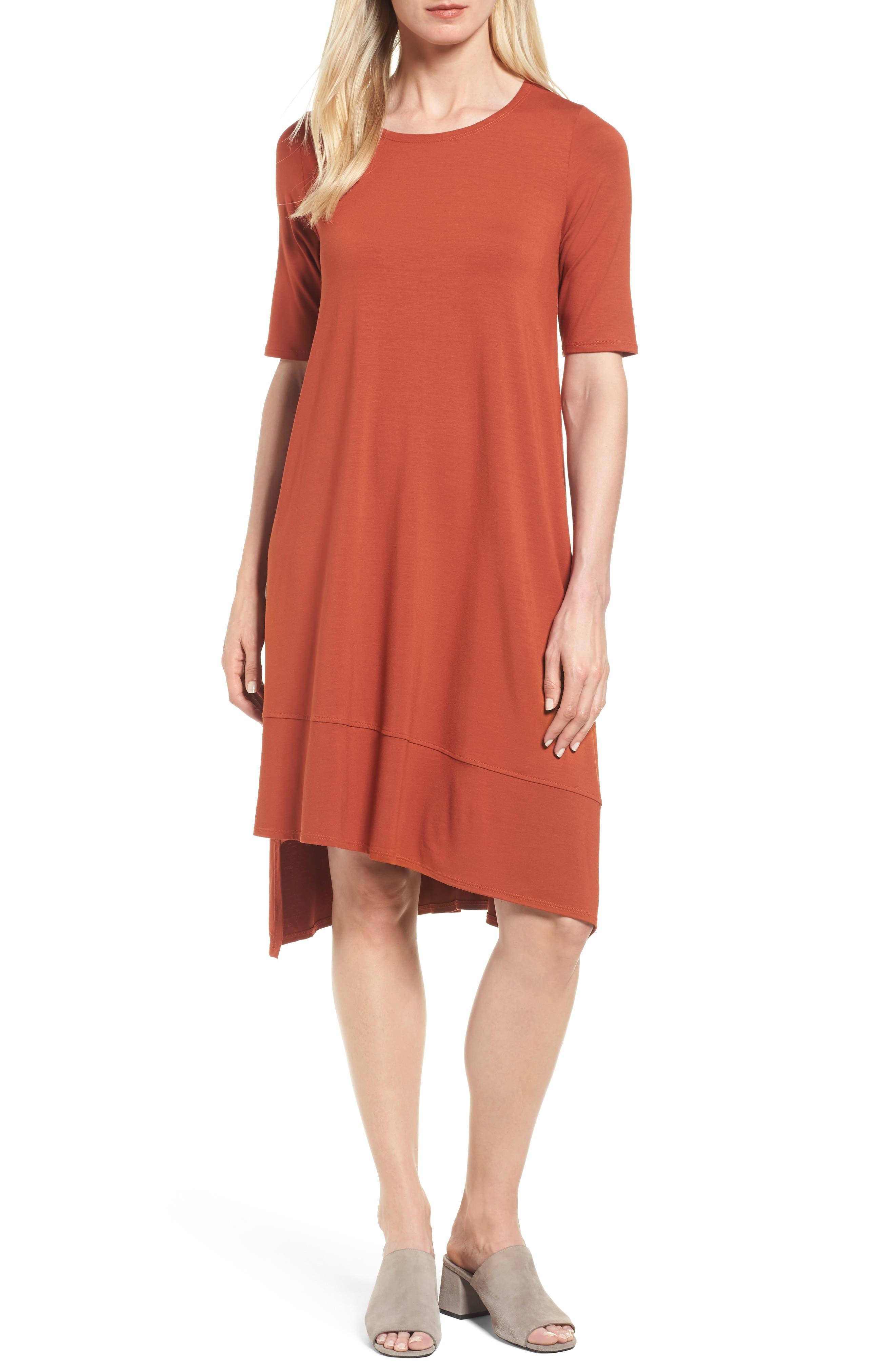 Alternate Image 1 Selected - Eileen Fisher Jersey Asymmetrical A-Line Dress