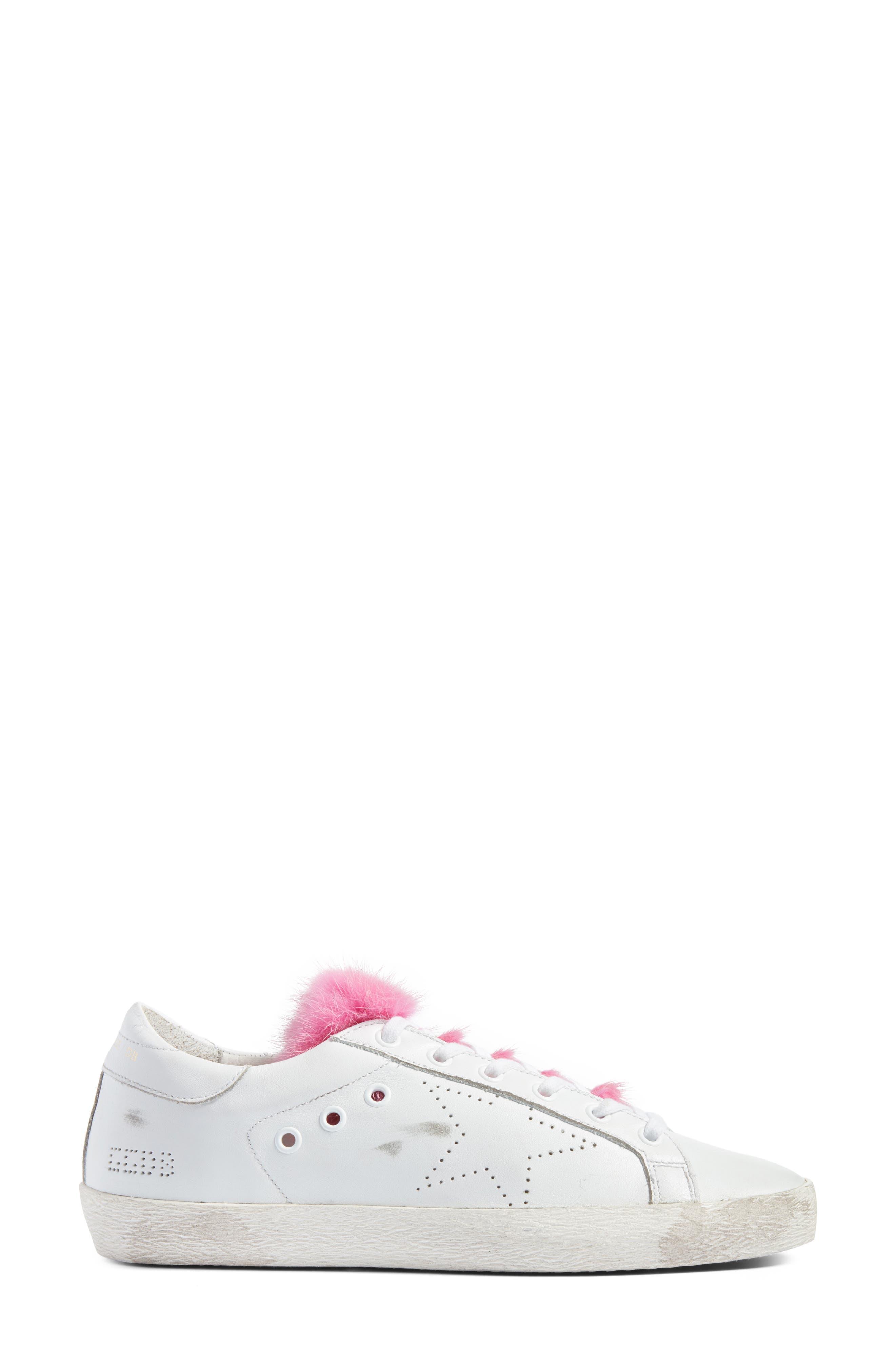 Superstar Genuine Mink Fur Sneaker,                             Alternate thumbnail 3, color,                             White Leather/ Pink