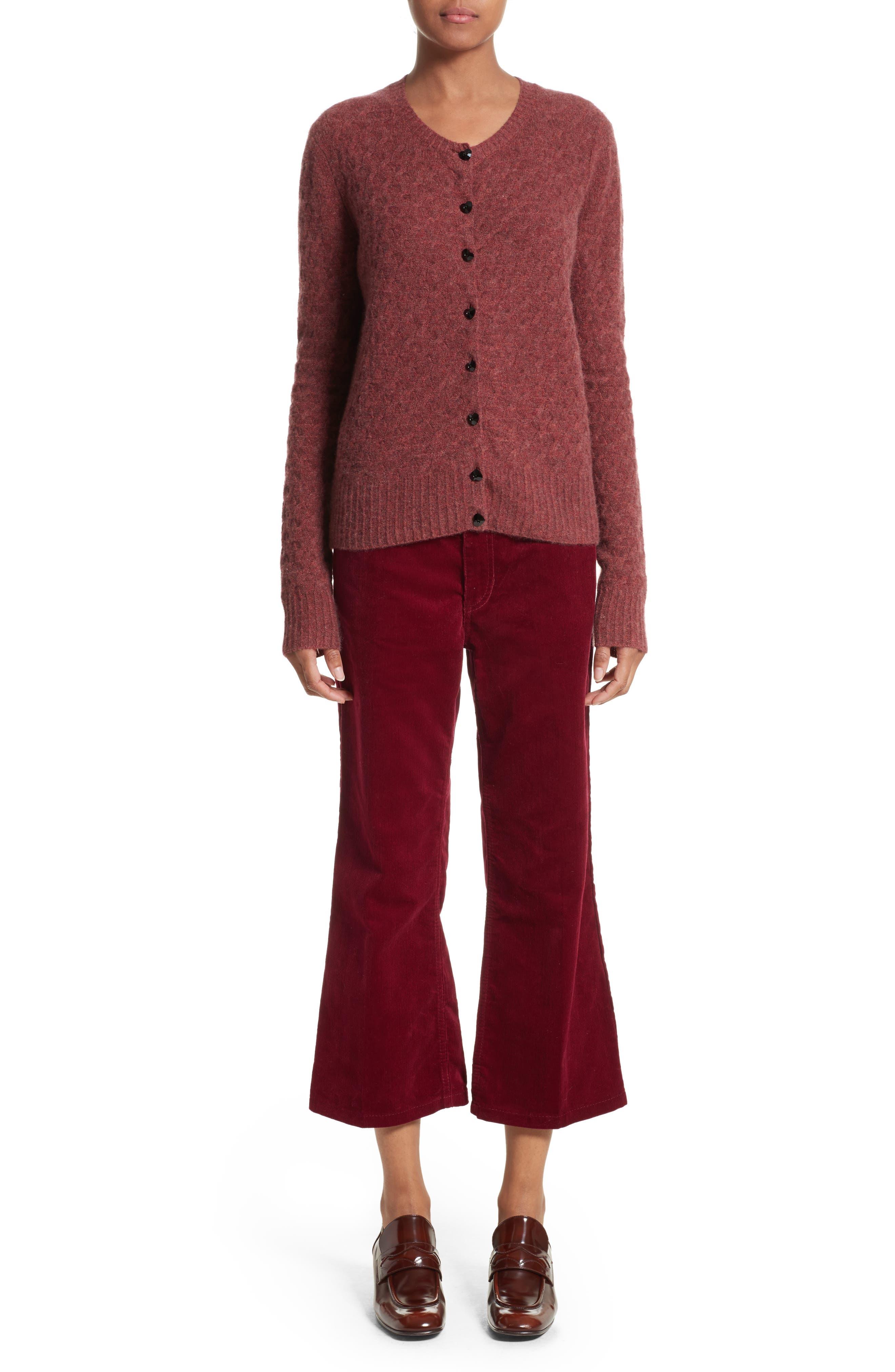Heart Button Cashmere Cardigan,                             Alternate thumbnail 8, color,                             Pink