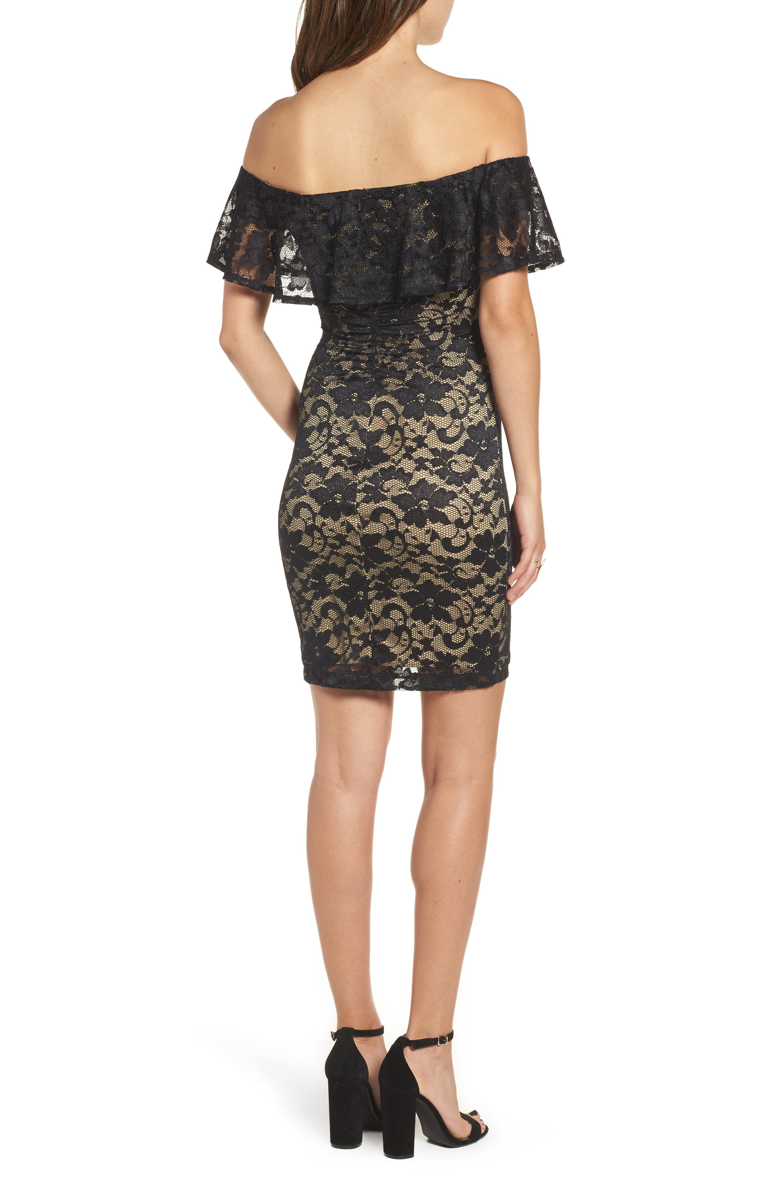 Love Nickie Lew Lace Off the Shoulder Dress,                             Alternate thumbnail 2, color,                             Black/ Nude