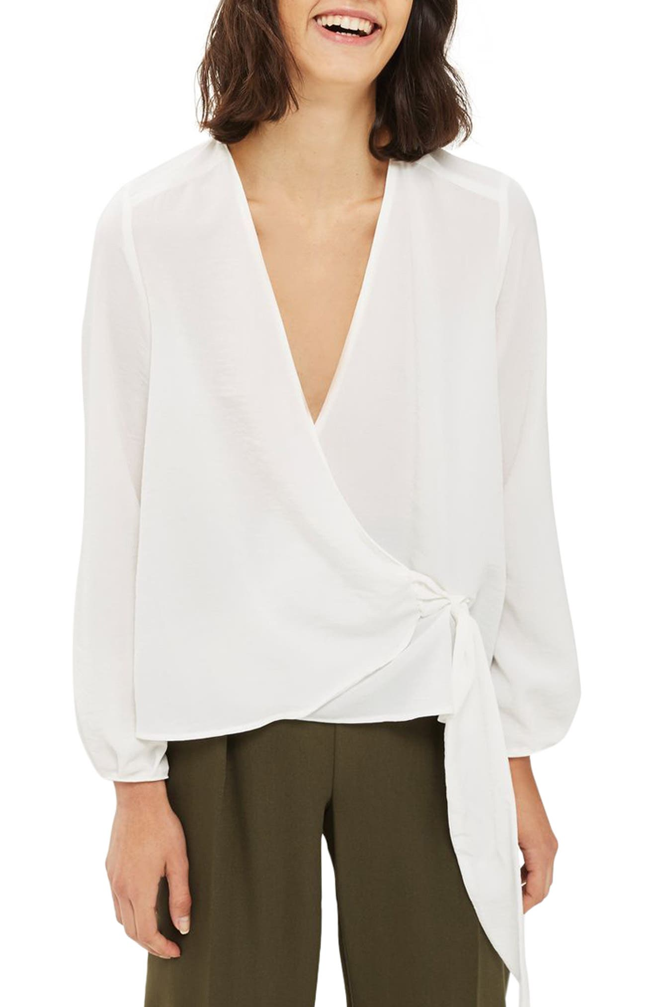 Wrap Tuck Blouse,                             Main thumbnail 1, color,                             Ivory