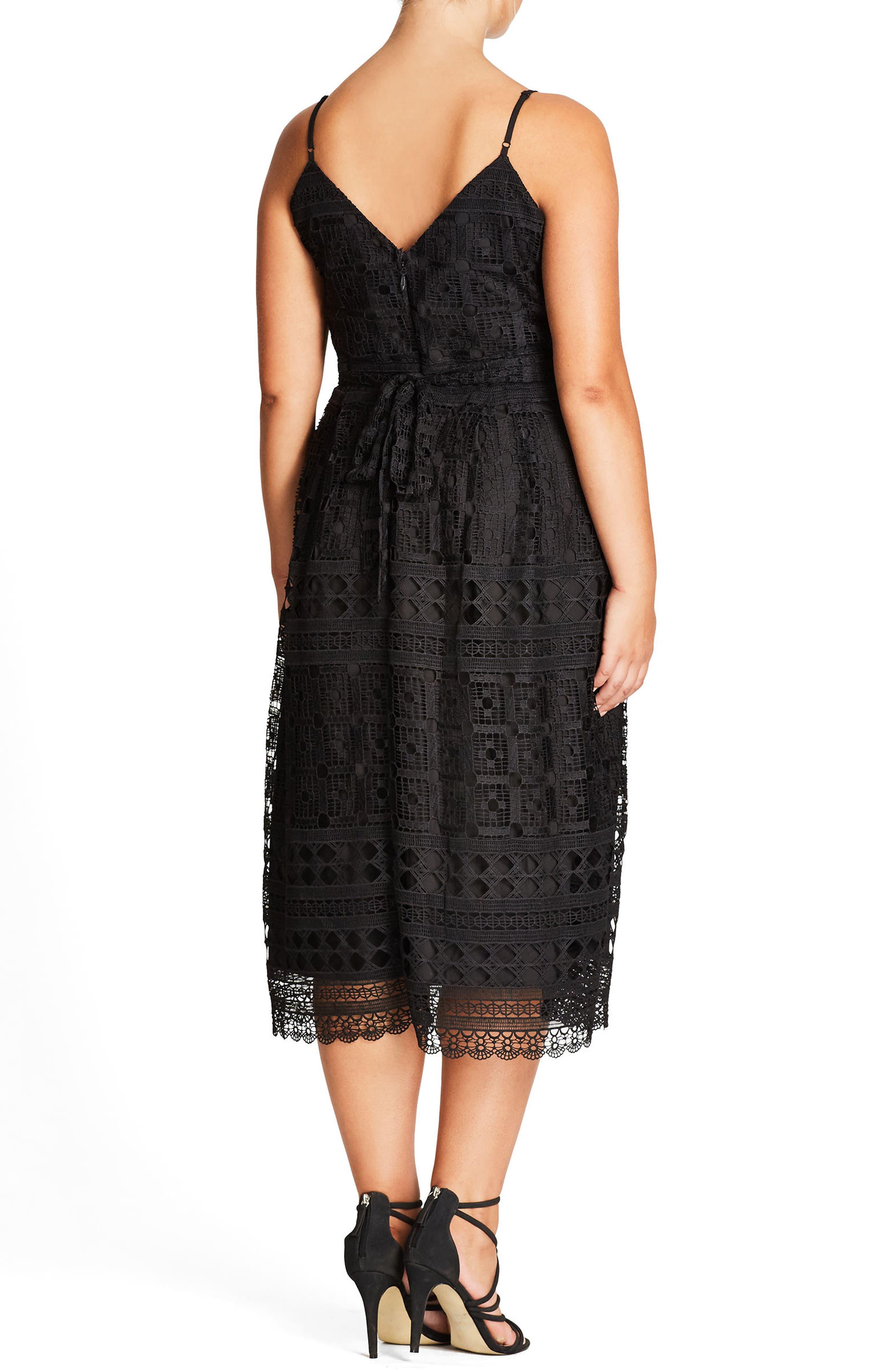 Sublime Lace Midi Dress,                             Alternate thumbnail 2, color,                             Black