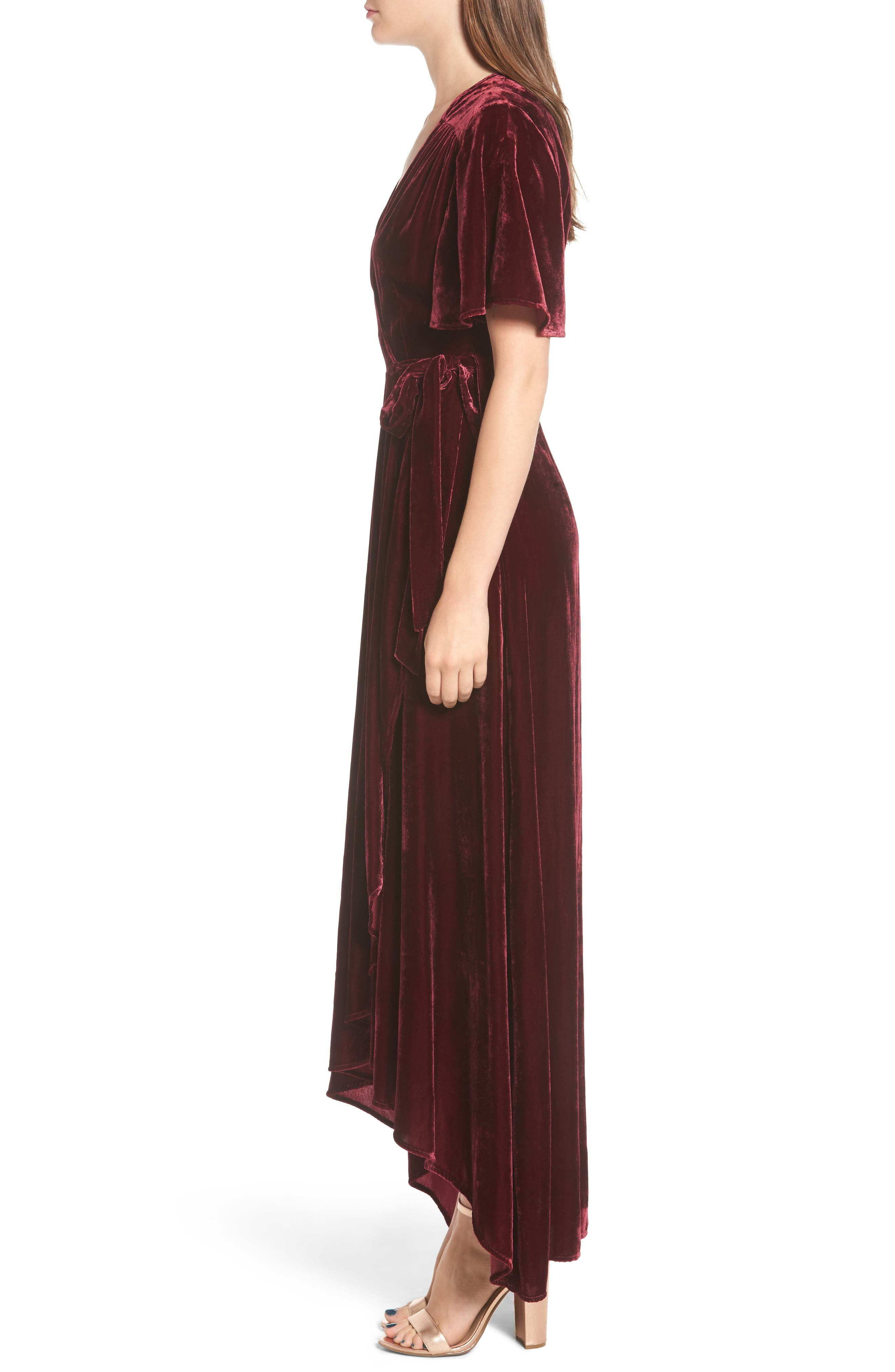 Velvet Wrap Maxi Dress,                             Alternate thumbnail 4, color,                             Burgundy