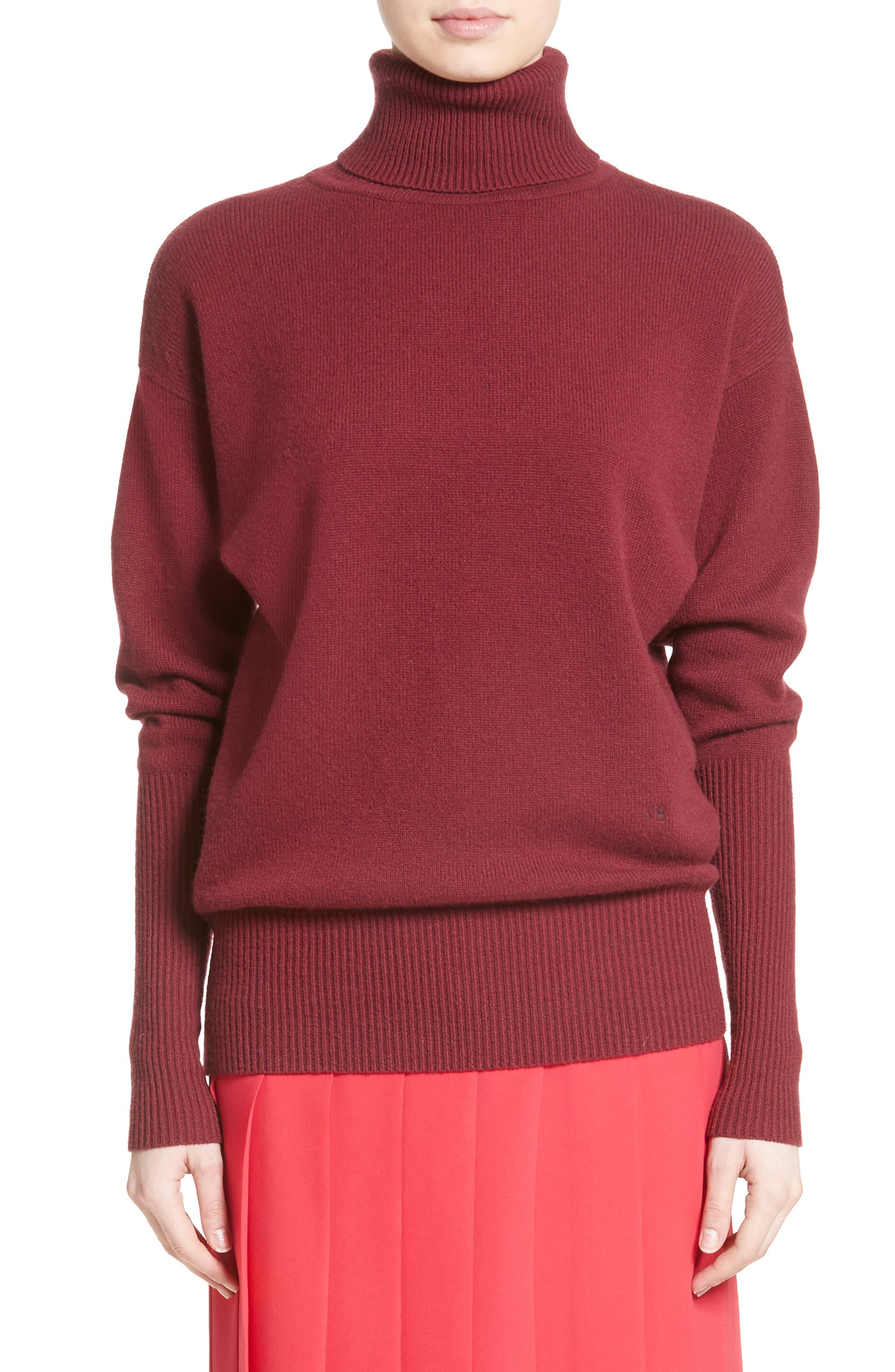 Cashmere Turtleneck Sweater,                             Main thumbnail 1, color,                             Cherry