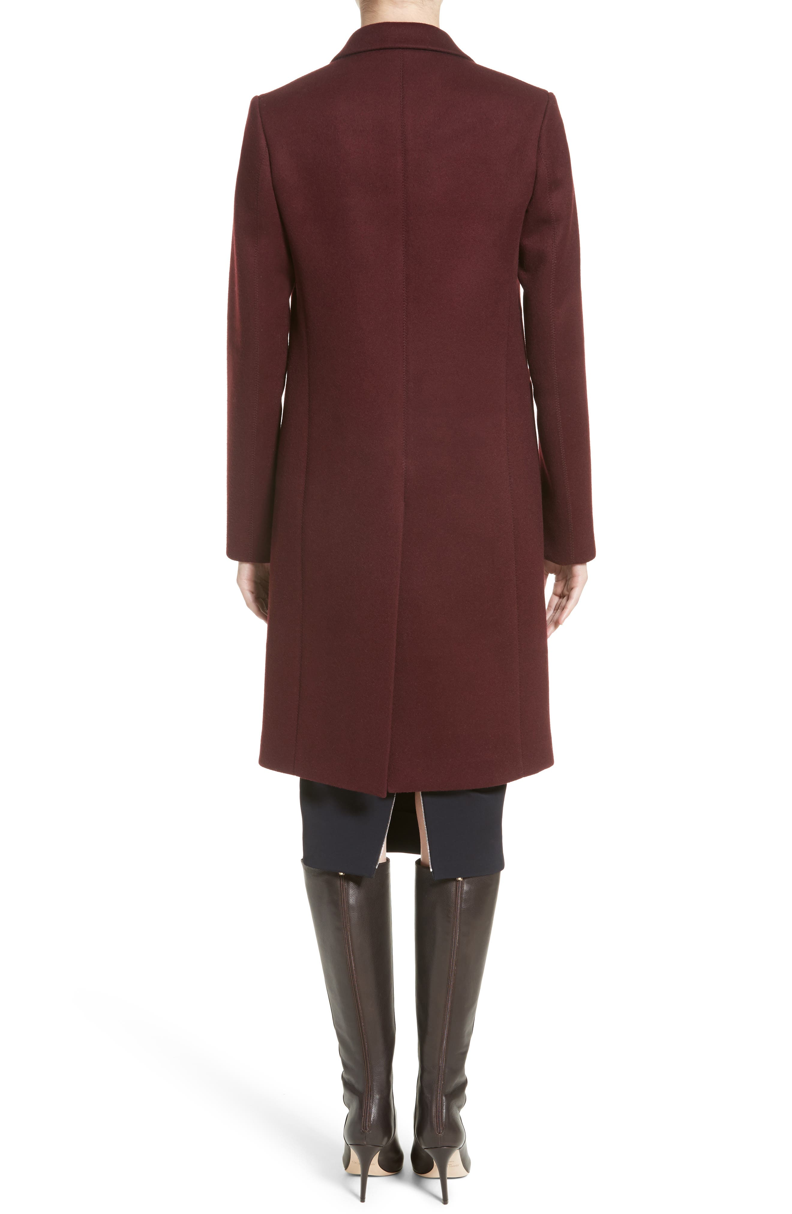 Bonded Felt Coat,                             Alternate thumbnail 2, color,                             Wine-Raspberry