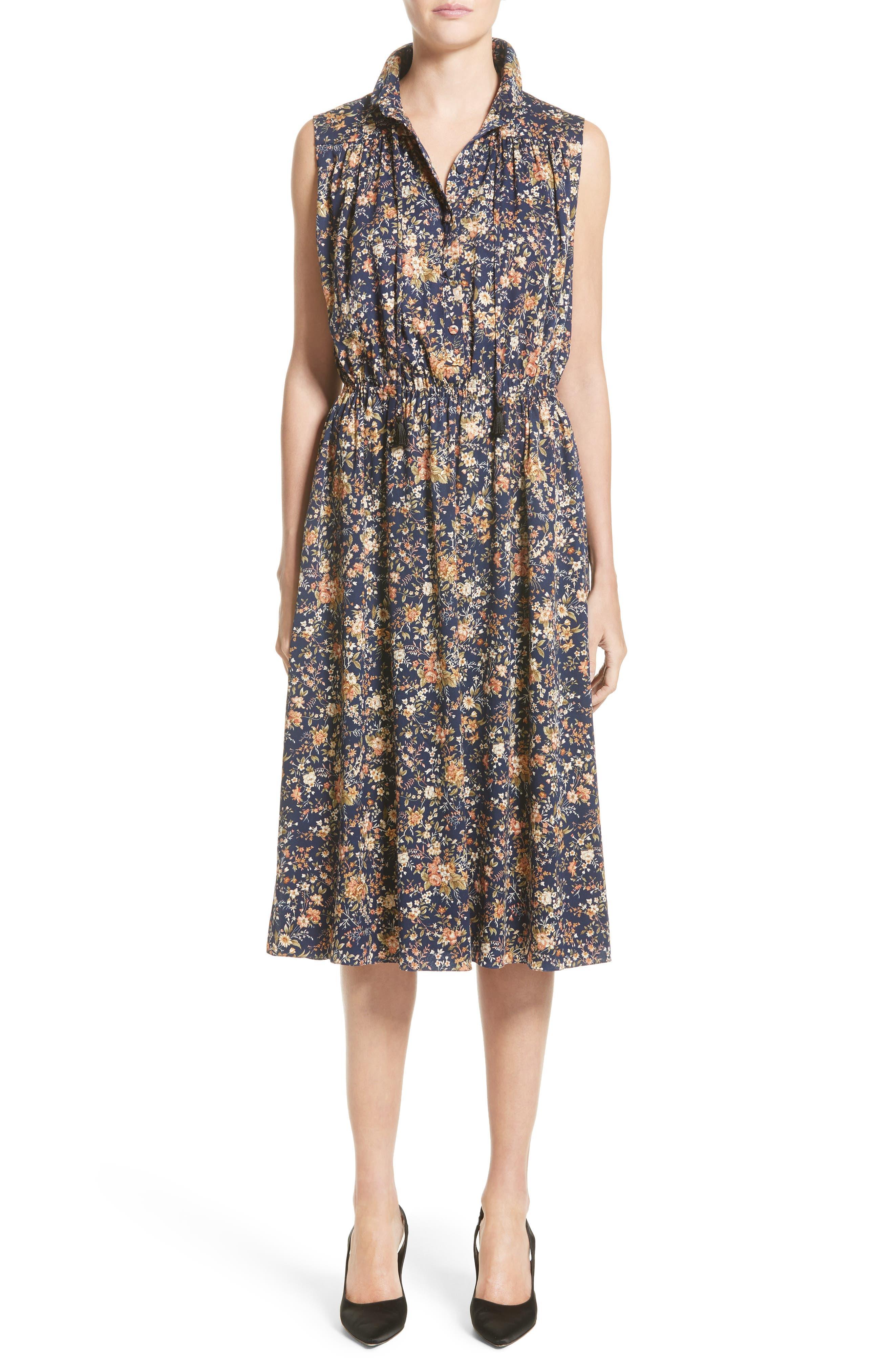 Floral Print Silk Dress,                         Main,                         color, Navy