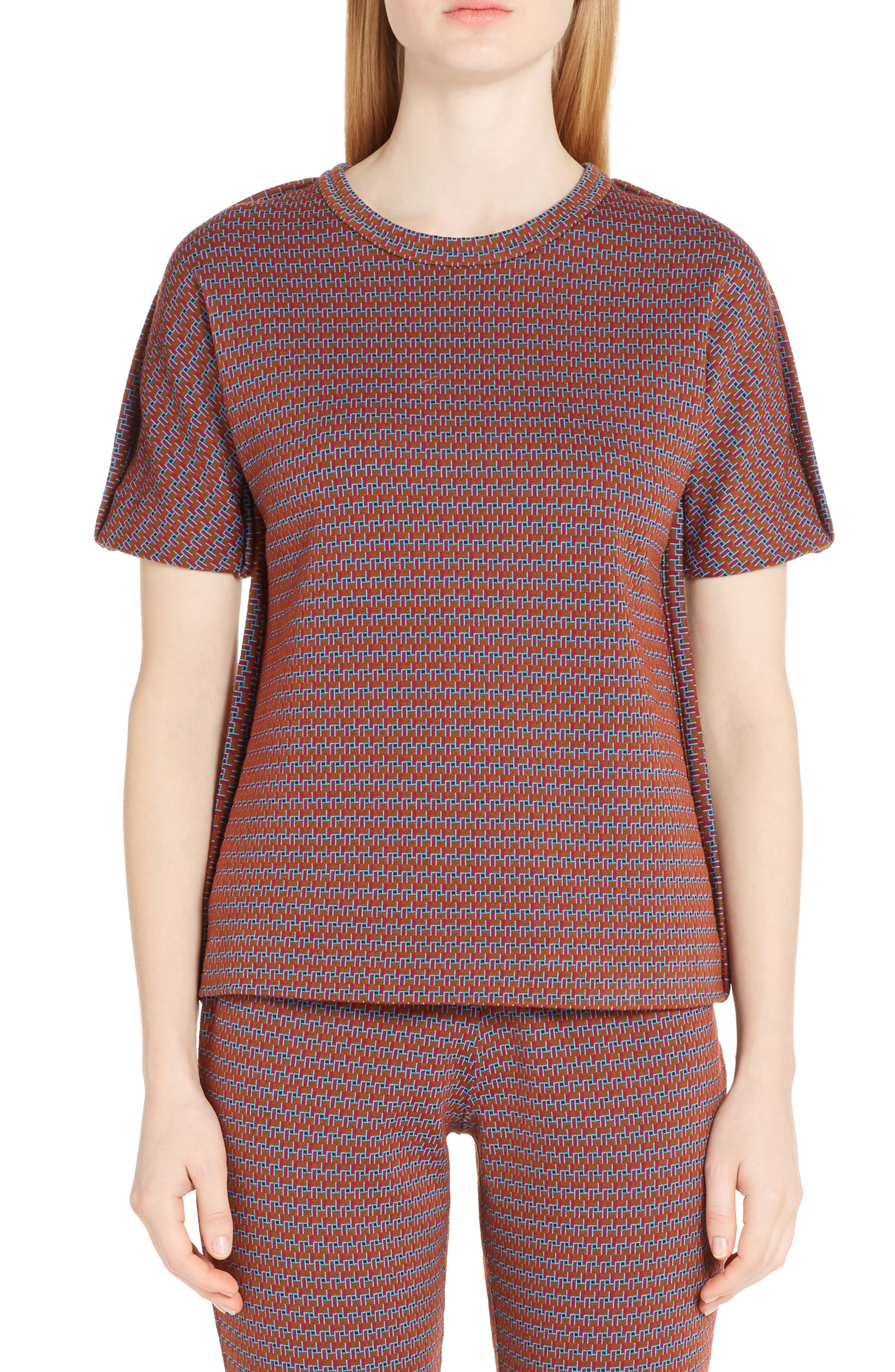 Micro Pattern Jersey Top,                         Main,                         color, China Red