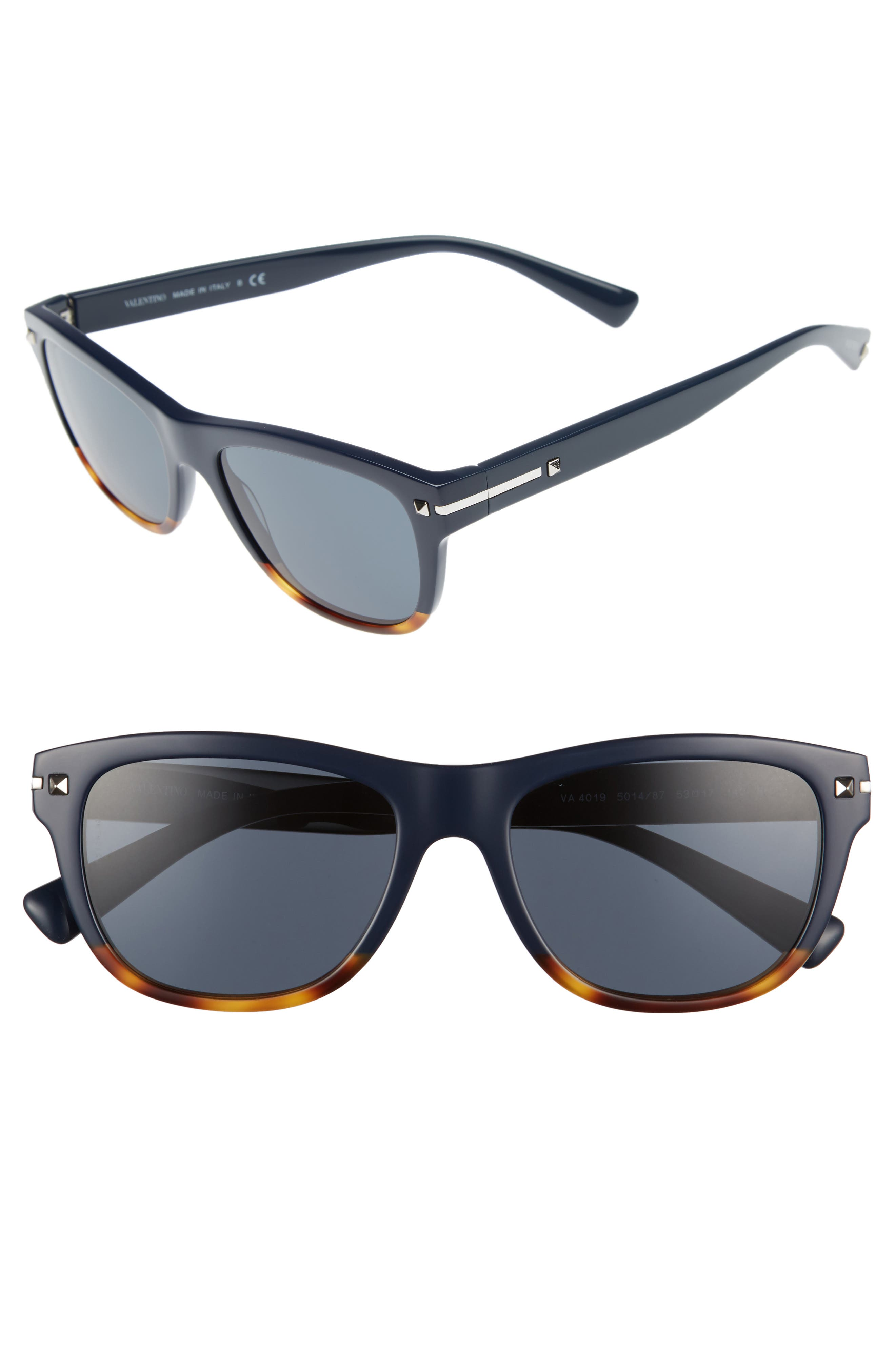 53mm Rectangle Sunglasses,                             Main thumbnail 1, color,                             Blue/ Havana