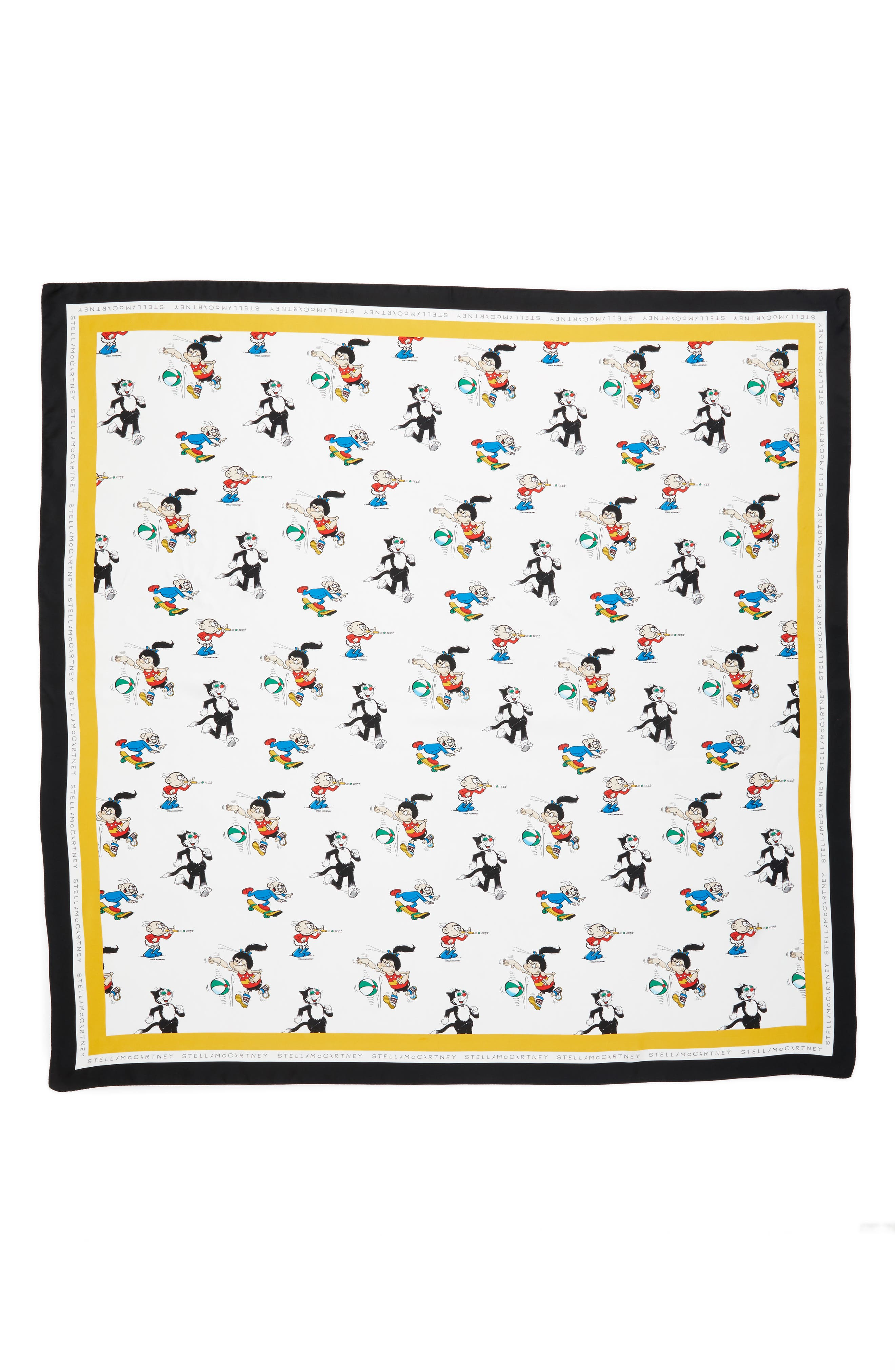 Cartoon Graphic Silk Scarf,                             Main thumbnail 1, color,                             White Multi