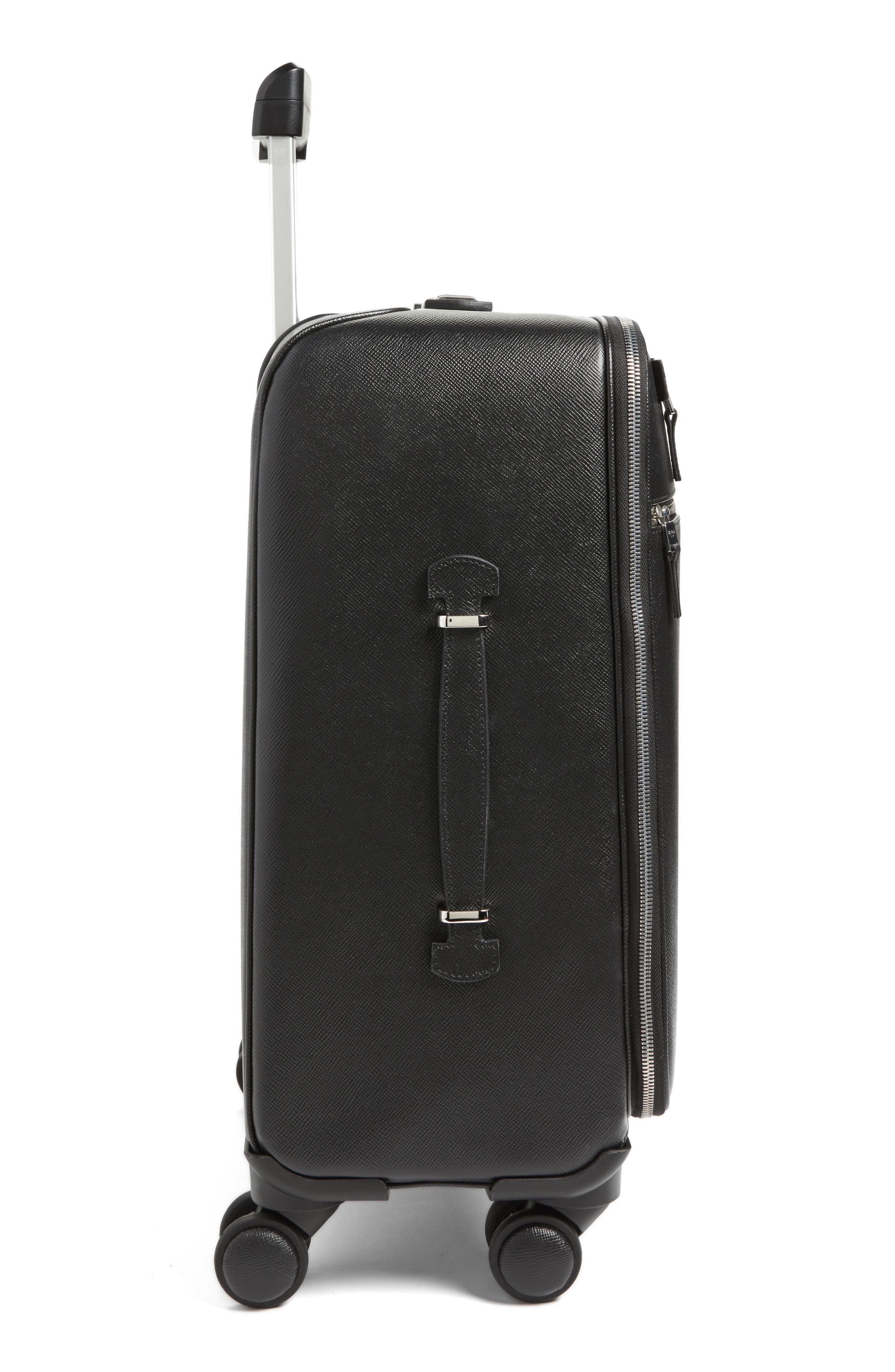 Trolley Spinner Wheeled Carry-On Suitcase,                             Alternate thumbnail 4, color,                             Black