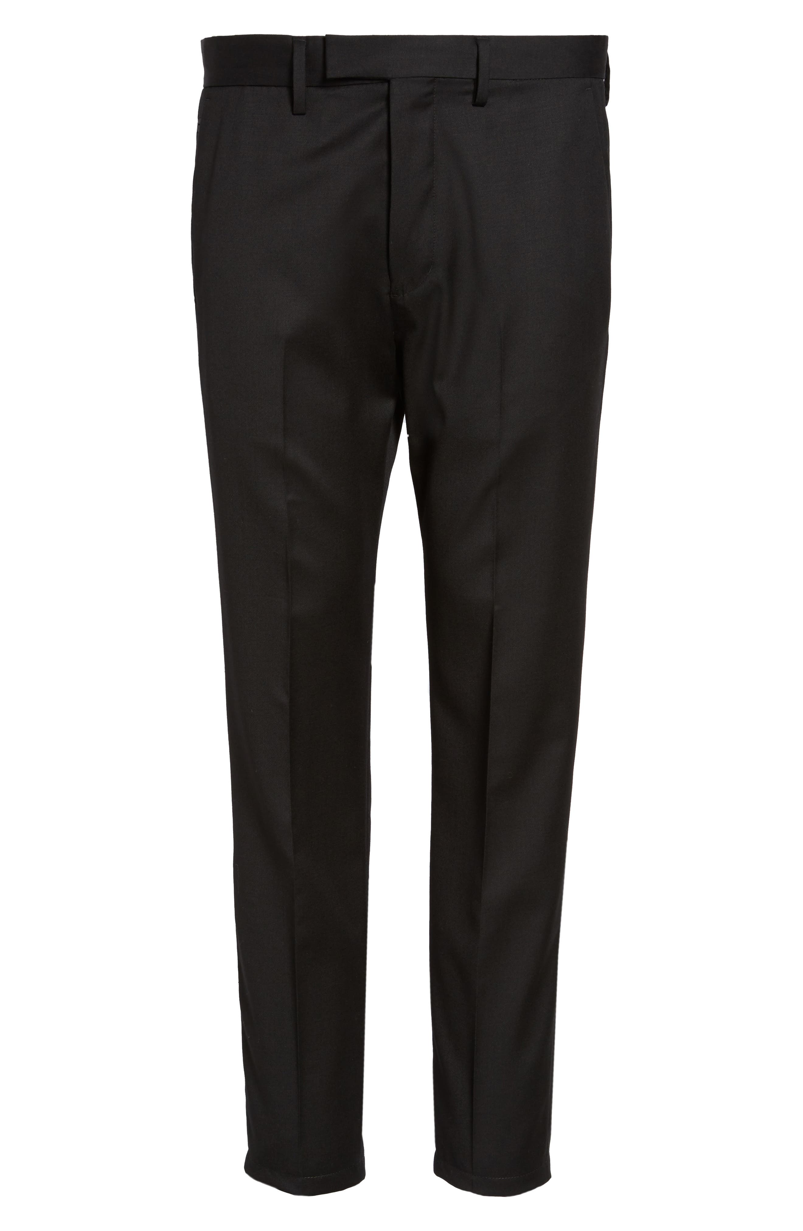 Slim Wool Trousers,                             Alternate thumbnail 6, color,                             Black Caviar