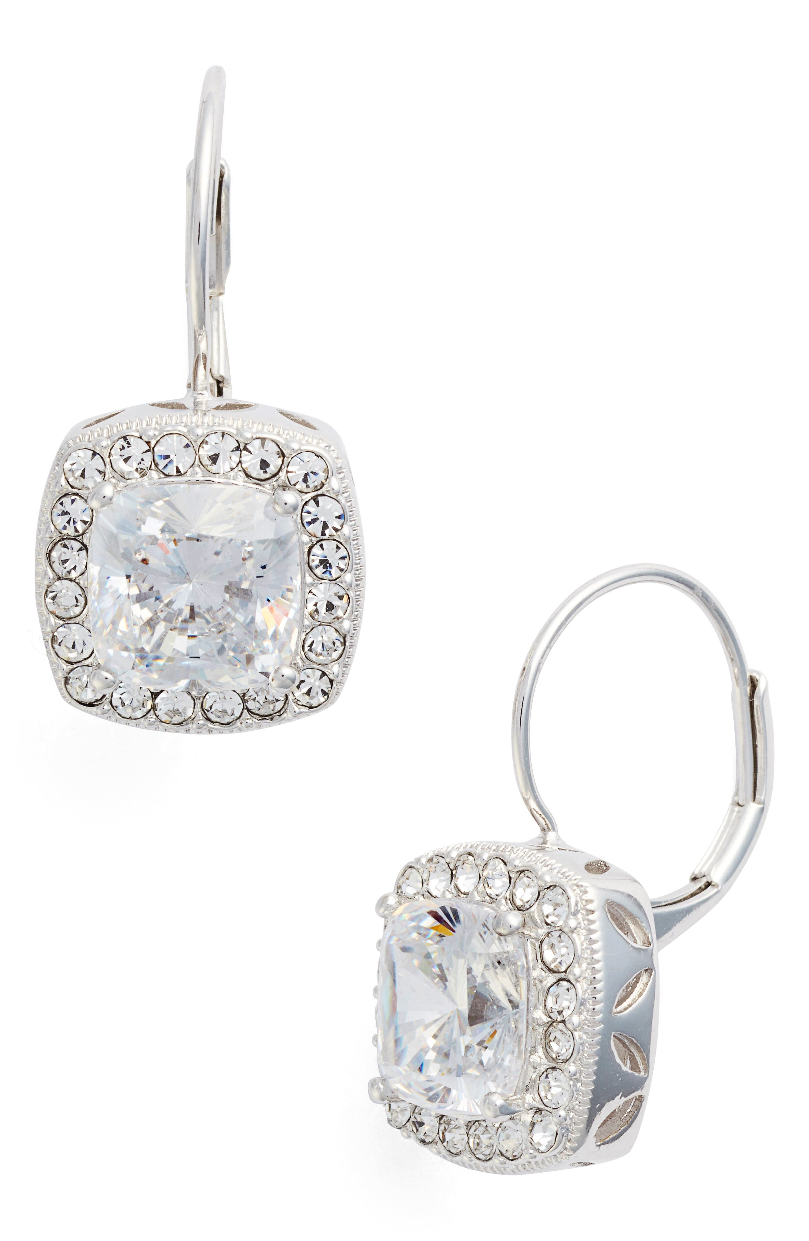 Cubic Zirconia Drop Earrings,                         Main,                         color, Silver