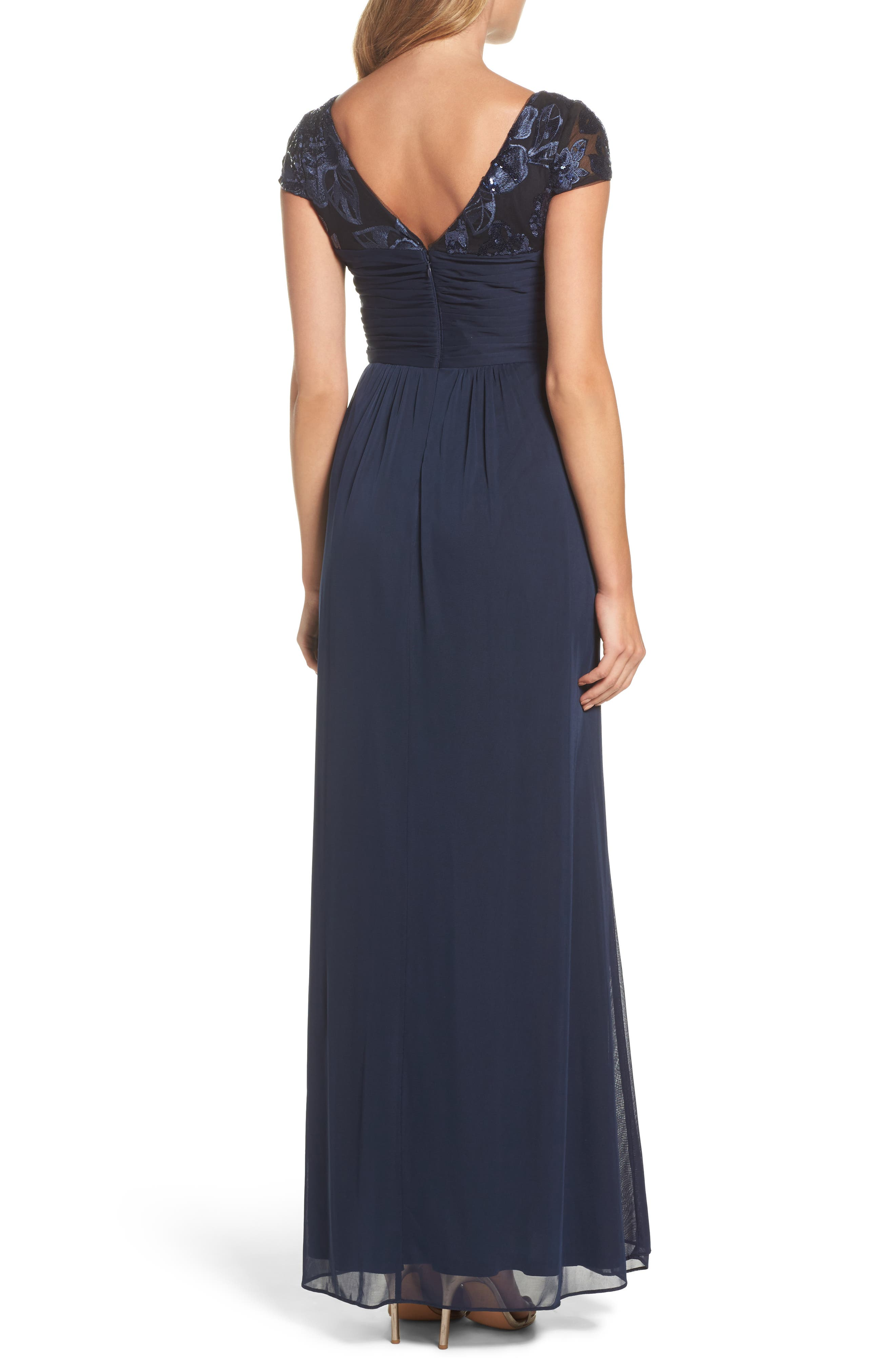 Embellished Gown,                             Alternate thumbnail 2, color,                             Navy