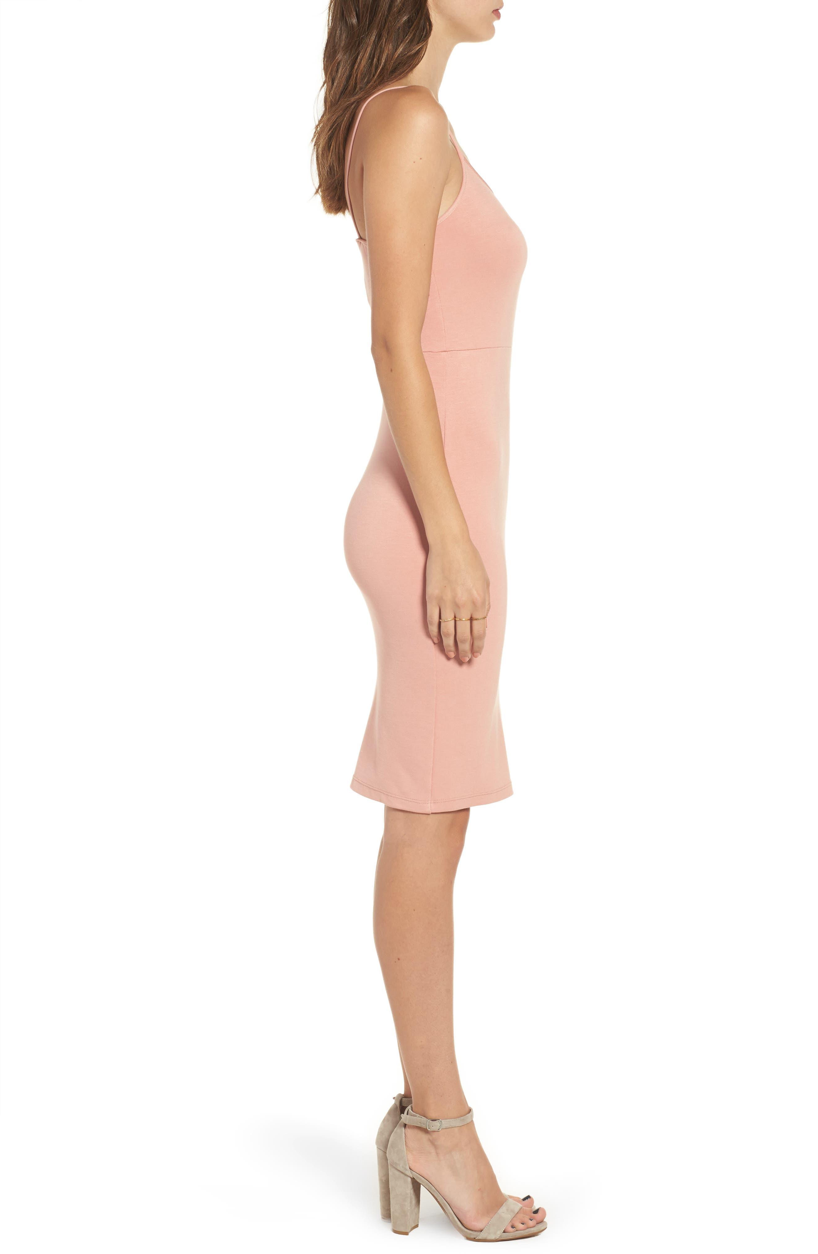 Knit Sheath Dress,                             Alternate thumbnail 3, color,                             Coral