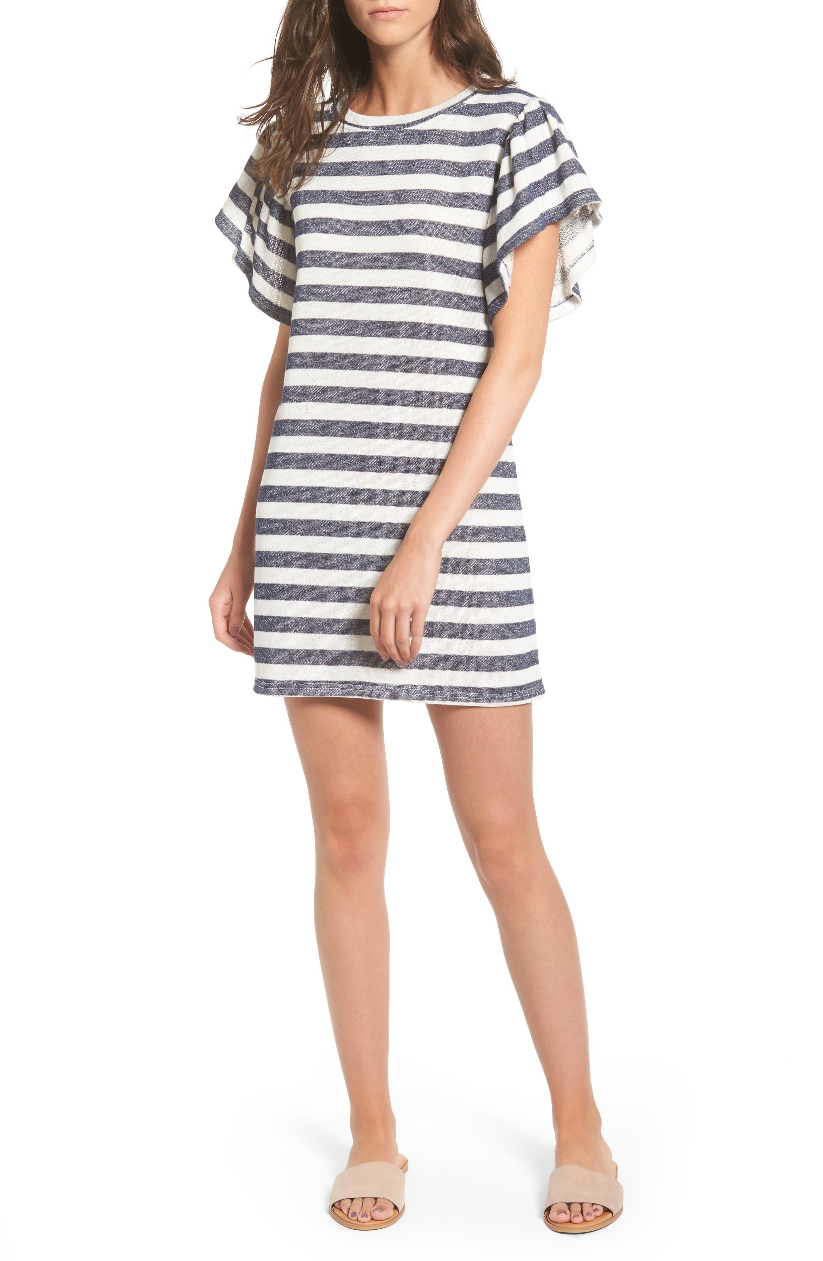 Cotton Emporium Flutter Sleeve Stripe Shift Dress
