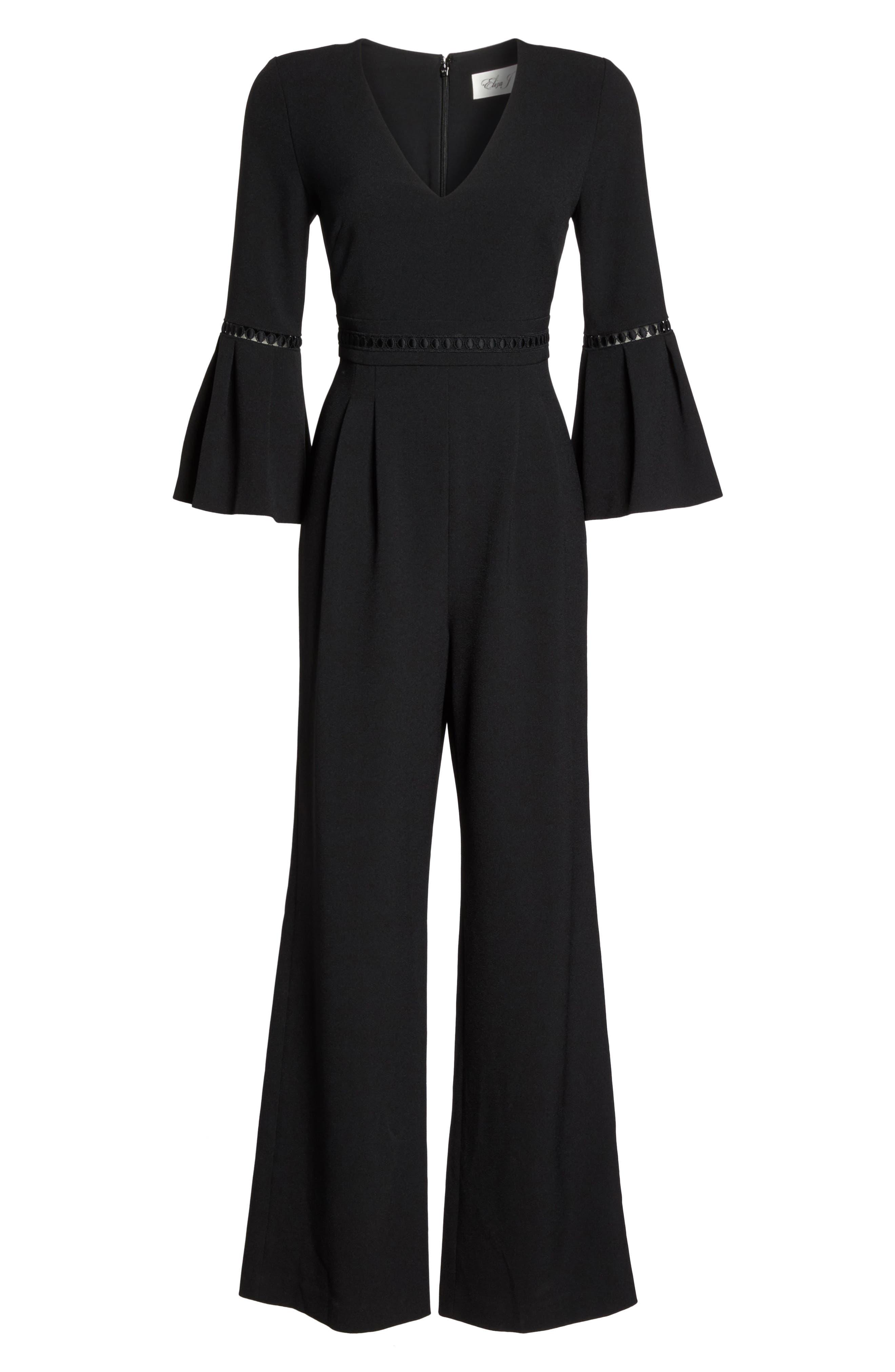 Bell Sleeve Jumpsuit,                             Alternate thumbnail 6, color,                             Black