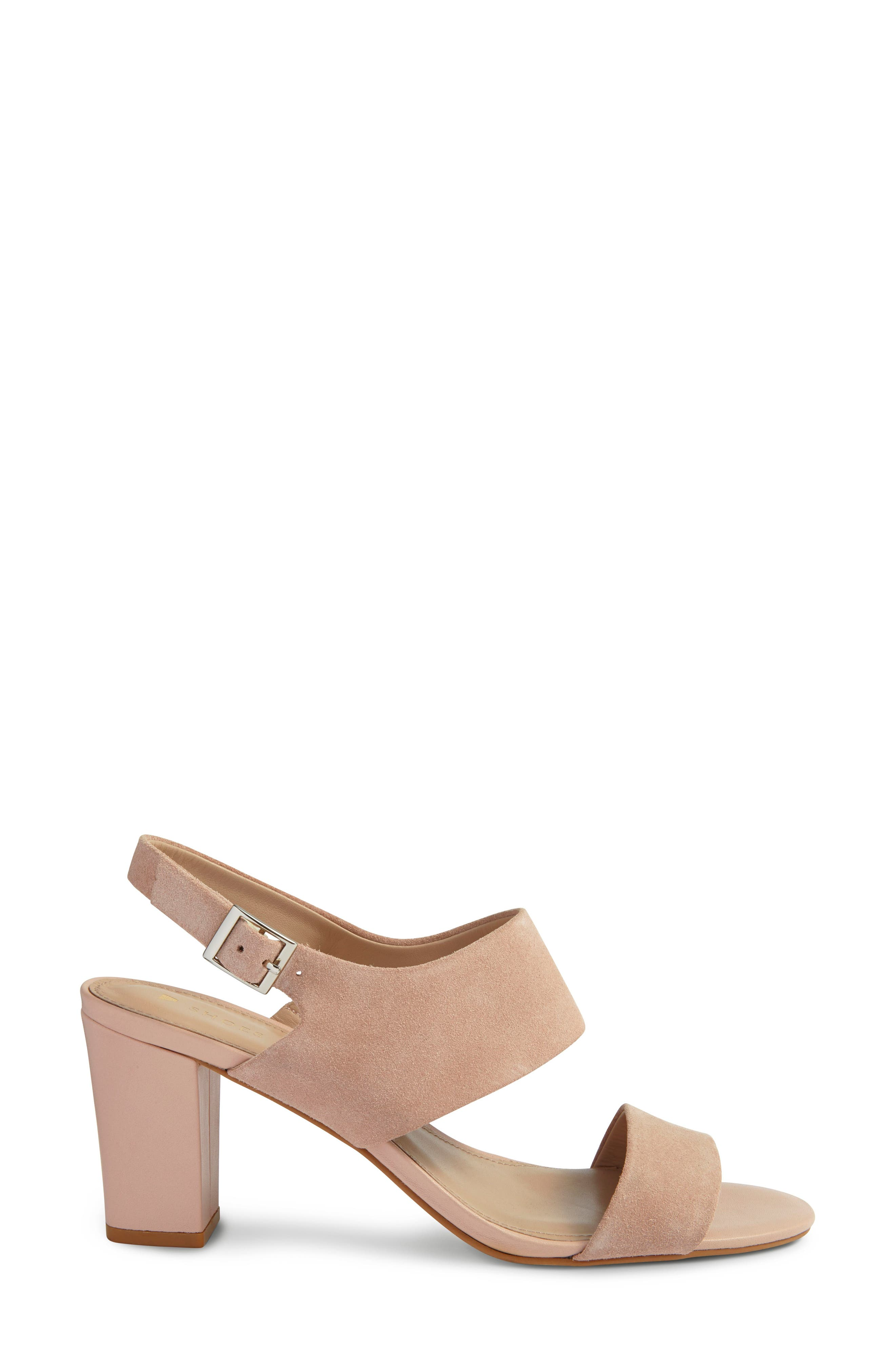 Strappy Sandal,                             Alternate thumbnail 3, color,                             Blush Nude Suede