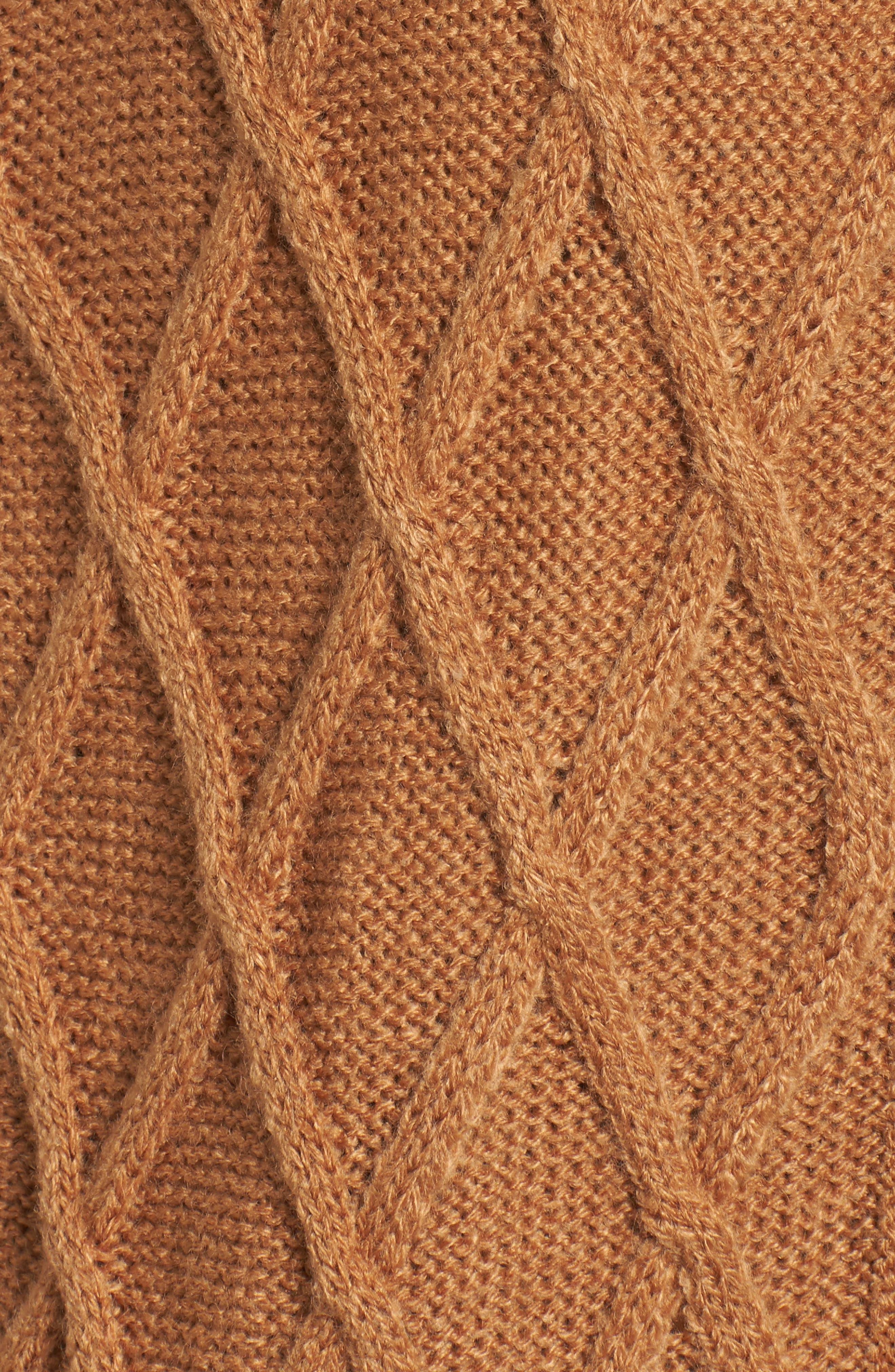 Cable Stitch Long Sweater Vest,                             Alternate thumbnail 6, color,                             Tan Dale