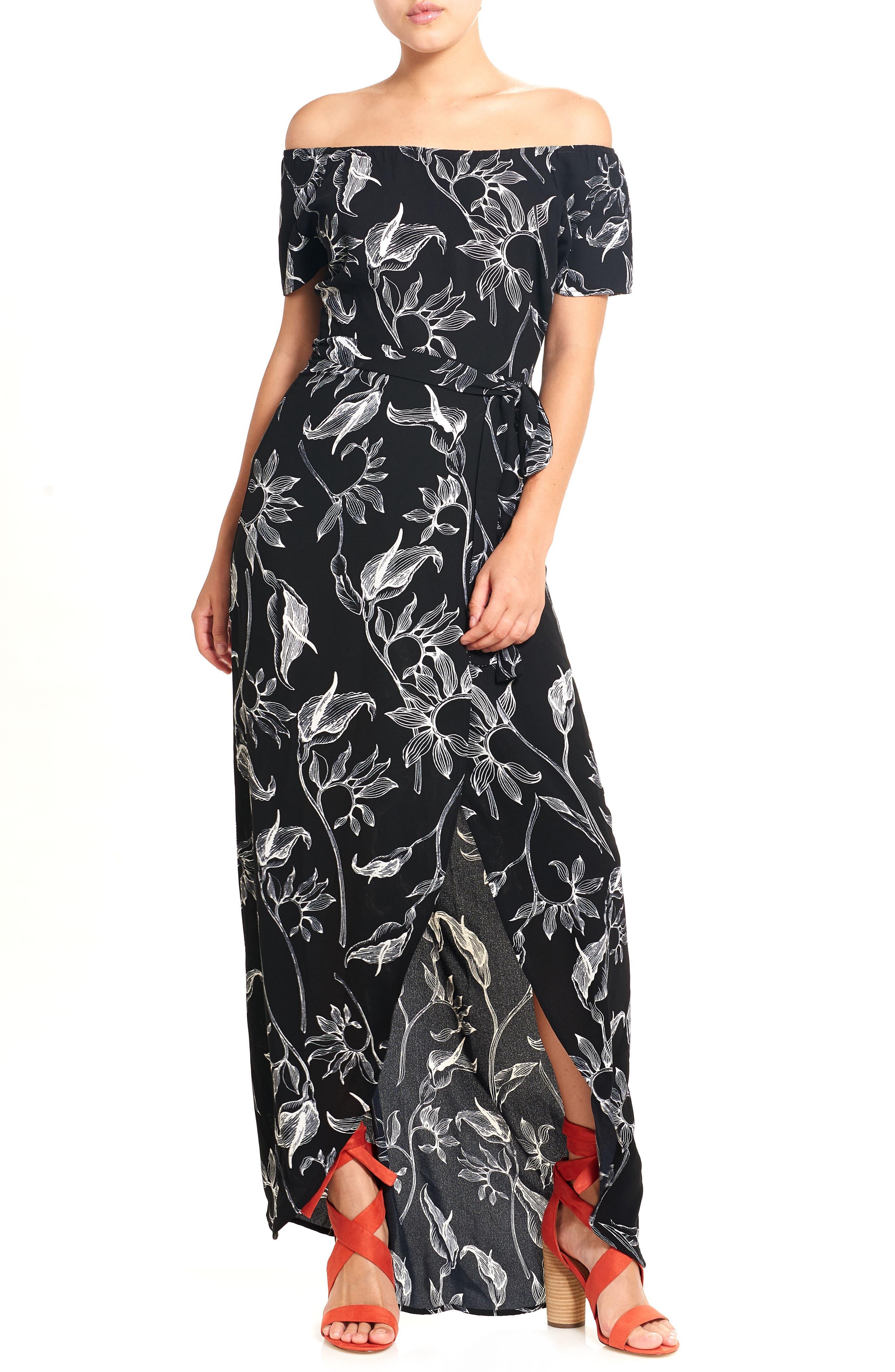 Print Off the Shoulder Maxi Dress,                             Main thumbnail 1, color,                             Black